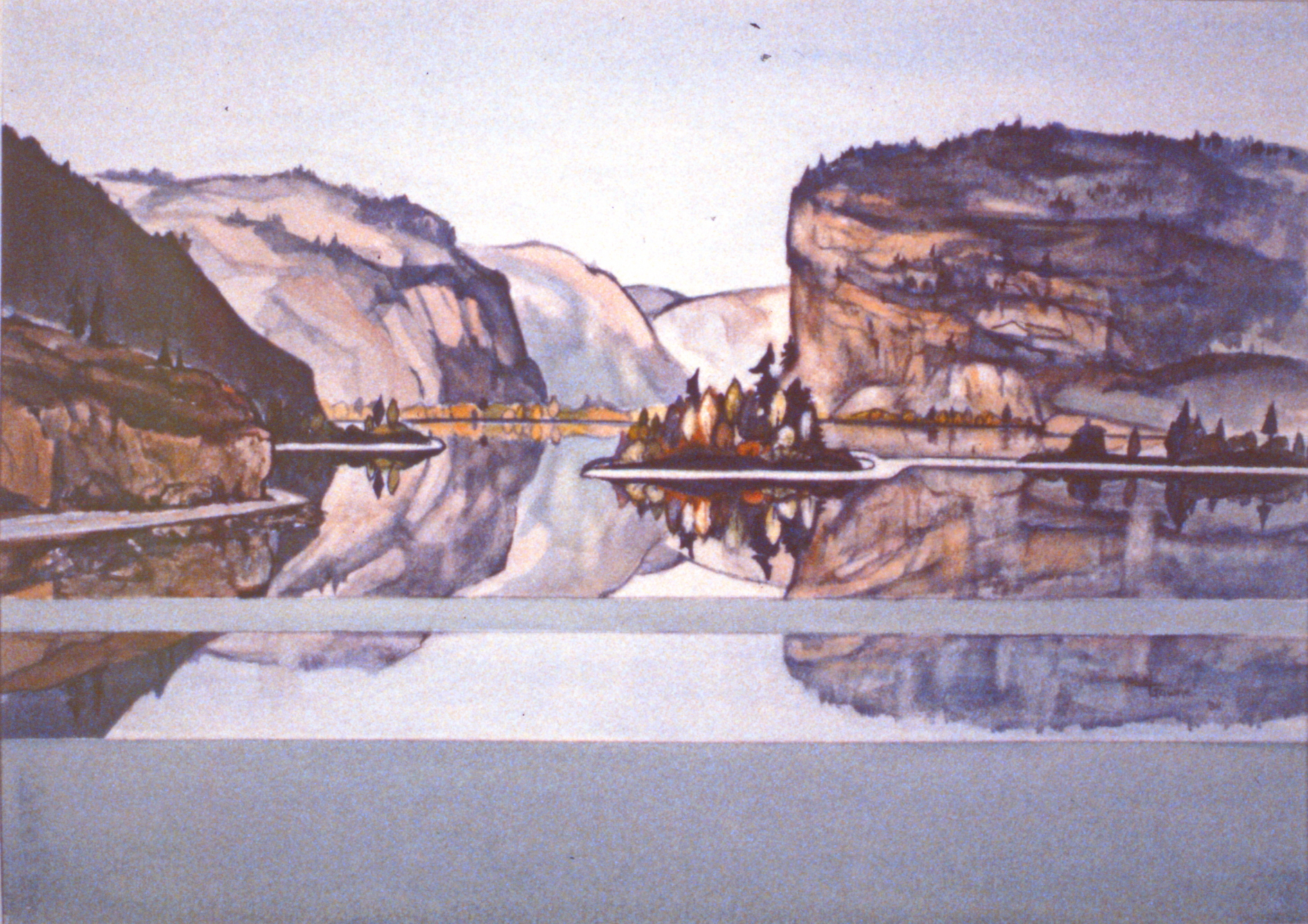 Reflections No. 5 (Vaseaux Lake) , 1984, Mabel Gawne, watercolour on paper, 41.5 x 58 cm, 1986.08.02. Gift of the artist.