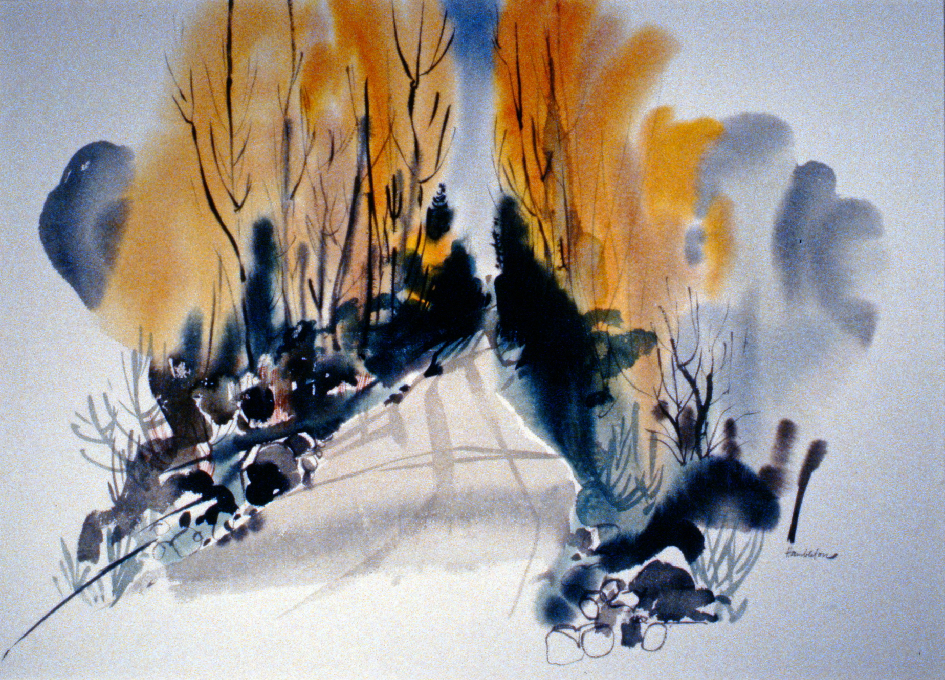 Cariboo Autumn,  n.d.Jack Hambleton, watercolour on paper, 54 x 74.3 cm, 1987.01.01. Gift of Mrs. Ernestine Lamoureux.