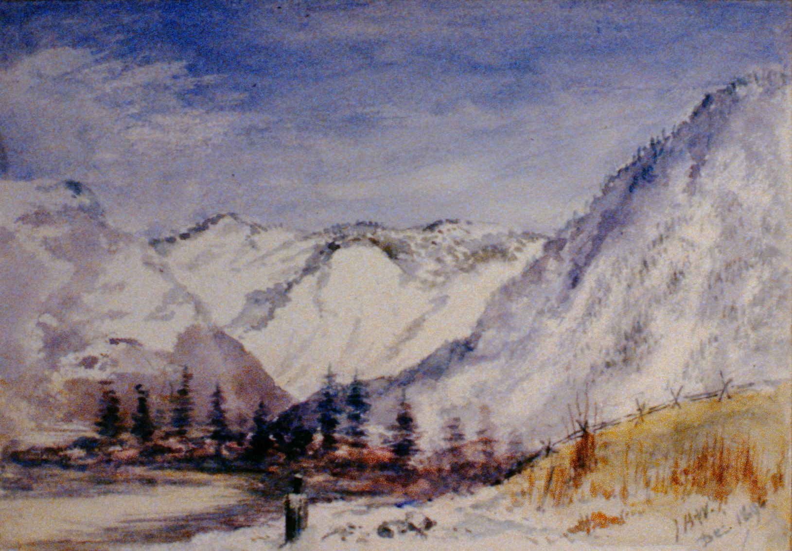 Three Mountains , 1894, Julia Bullock Webster, watercolour on paper, 17.5 x 25.1 cm, 1983.02.01. Gift of Mrs. Barbara Steel.