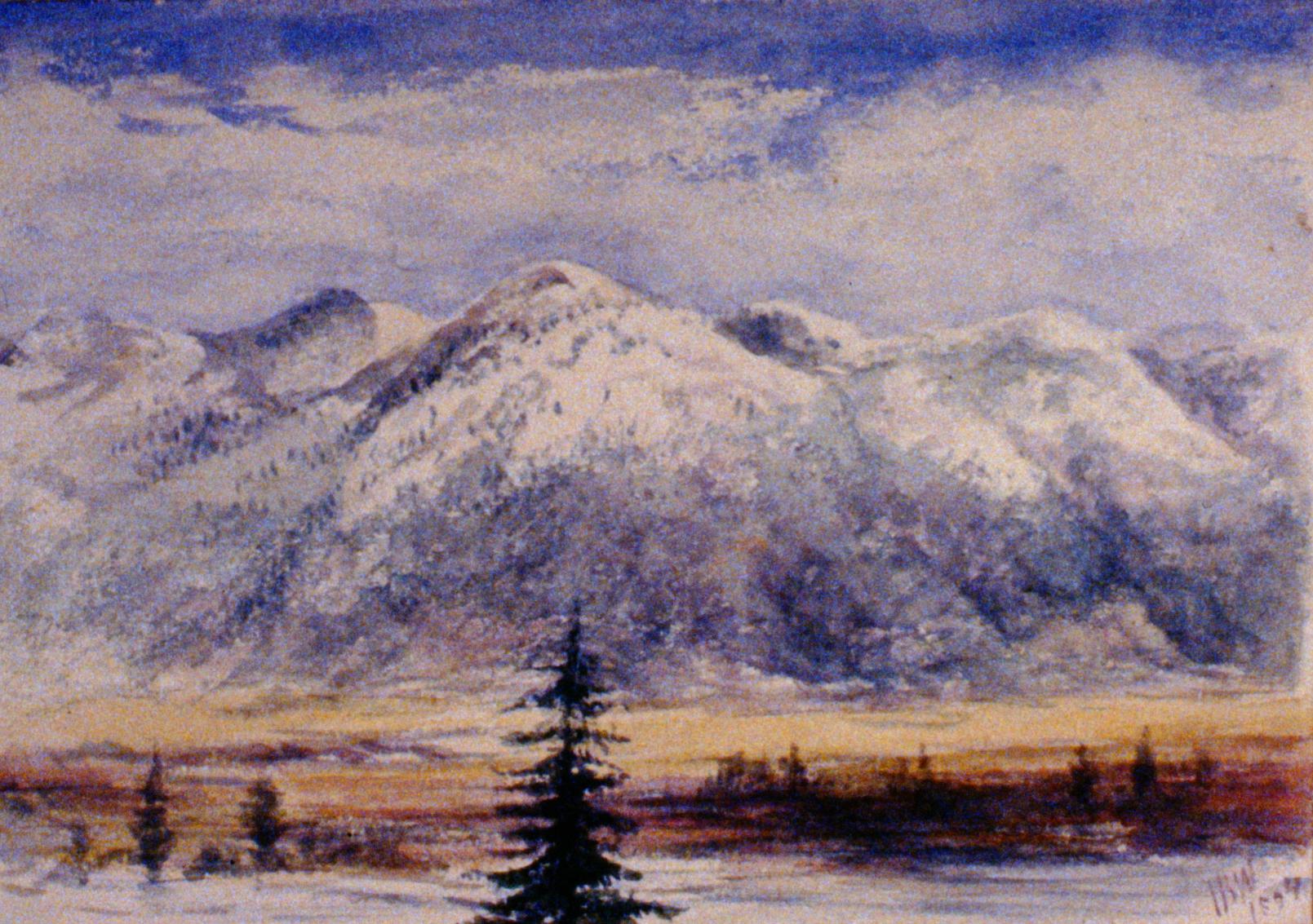 Cawston Bench NE , 1894, Julia Bullock Webster, watercolour, 17.5 x 25.1 cm, 1983.02.02.Gift of Mrs. Barbara Steel.