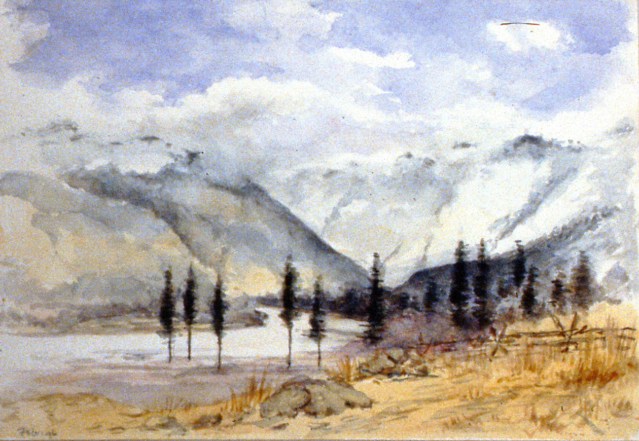Untitled (Mountains with Cloud Cover), 1896, Julia Bullock-Webster, watercolour on paper, 17.5 x 25 cm, 1983.02.08. Gift of Mrs. Barbara Steel.