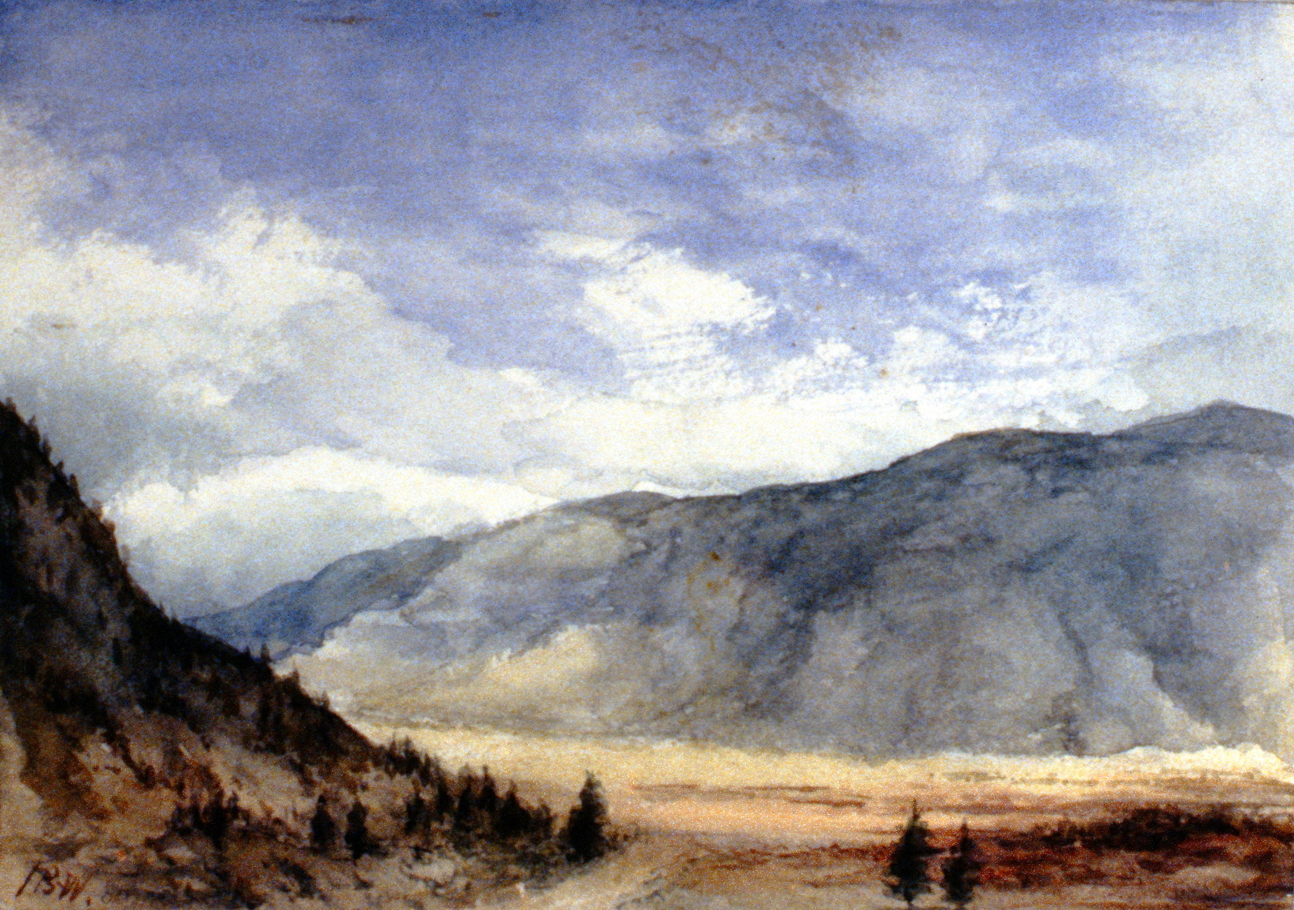 Untitled (Looking South to Cawston), 1895, Julia Bullock-Webster, watercolour on paper, 17.5 x 25 cm, 1983.02.04.  Gift of Mrs. Barbara Steel.