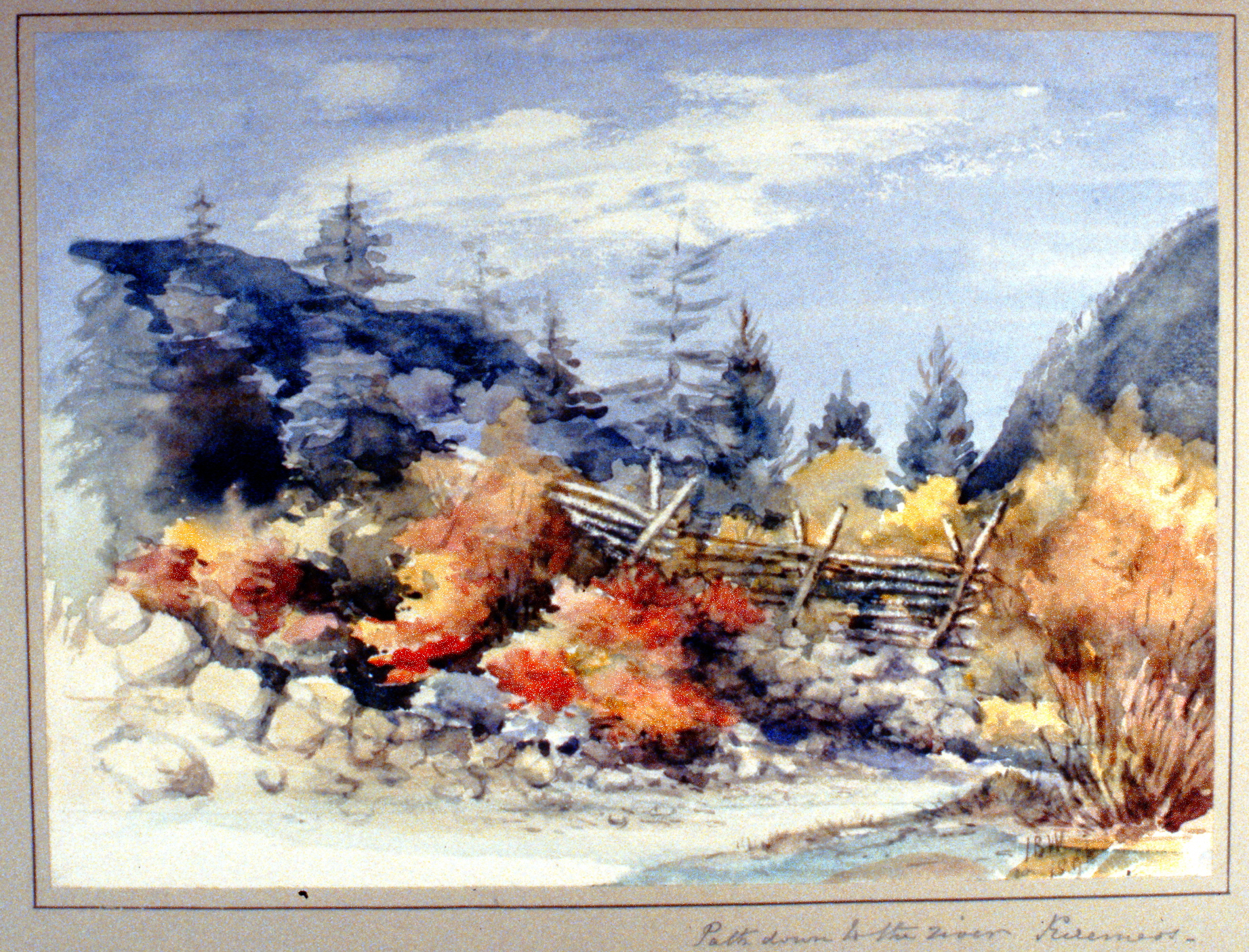 Path Down to the River, Keremeos , 1895, Julia Bullock-Webster, watercolour on paper, 22 x 30.1 cm, 1983.02.05. Gift of Mrs. Barbara Steel.