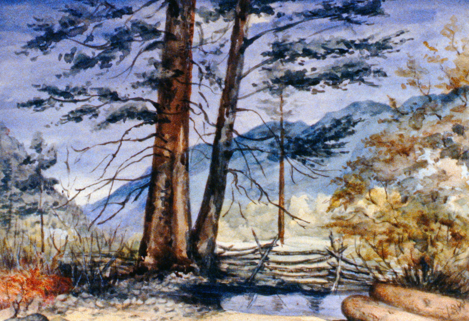 Untitled (Looking From Similkameen), c. 1895, Julia Bullock-Webster, watercolour on paper, 20.1 x 29.4 cm, 1983.02.11. Gift of Mrs. Barbara Steel.