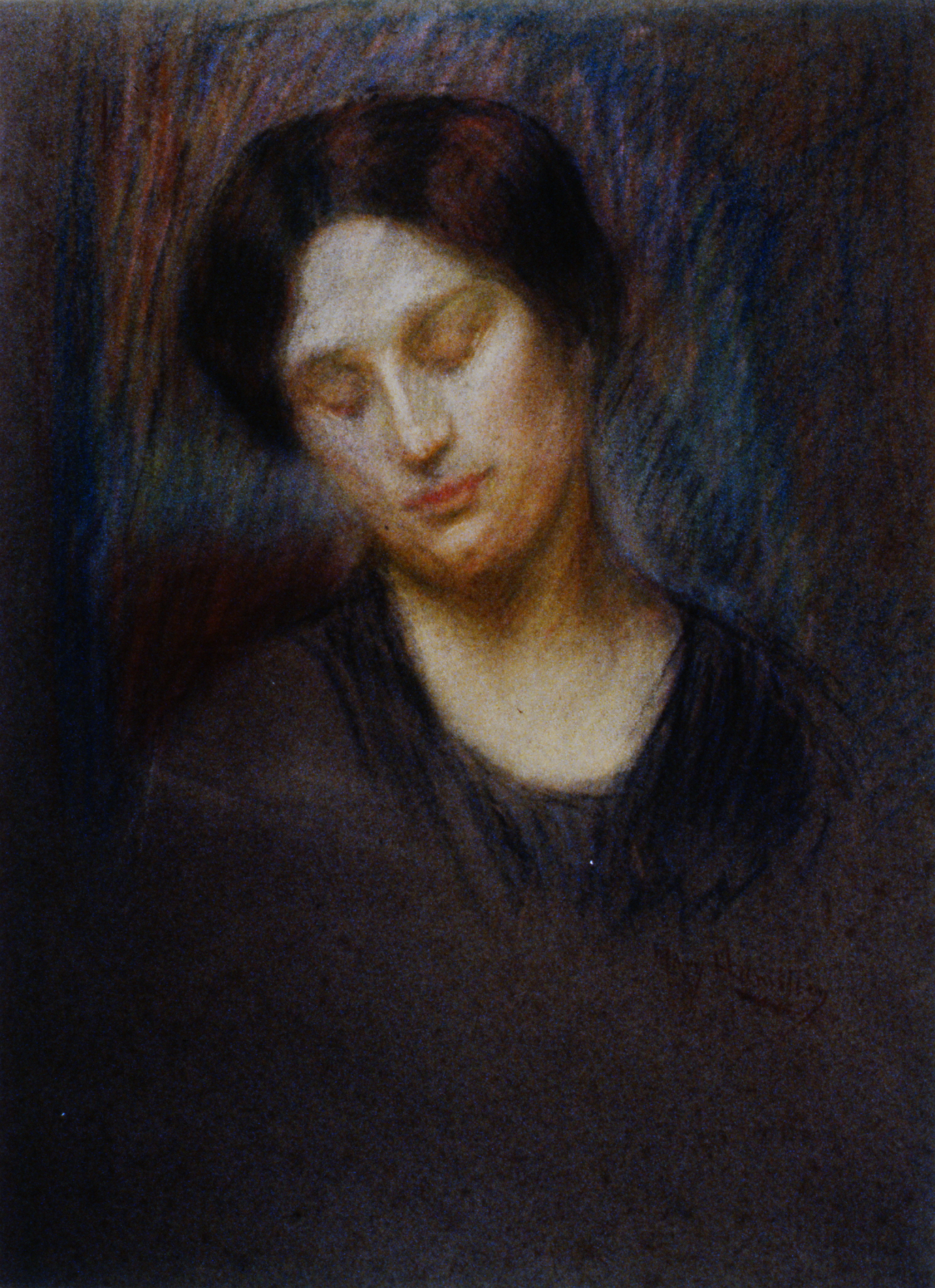 """Study of a Woman's Face , n.d., Mary Riter Hamilton, chalk on paper, 23 1/2"""" x 17"""", 1987.04.01. Gift of Mrs. Thelma Johnston."""