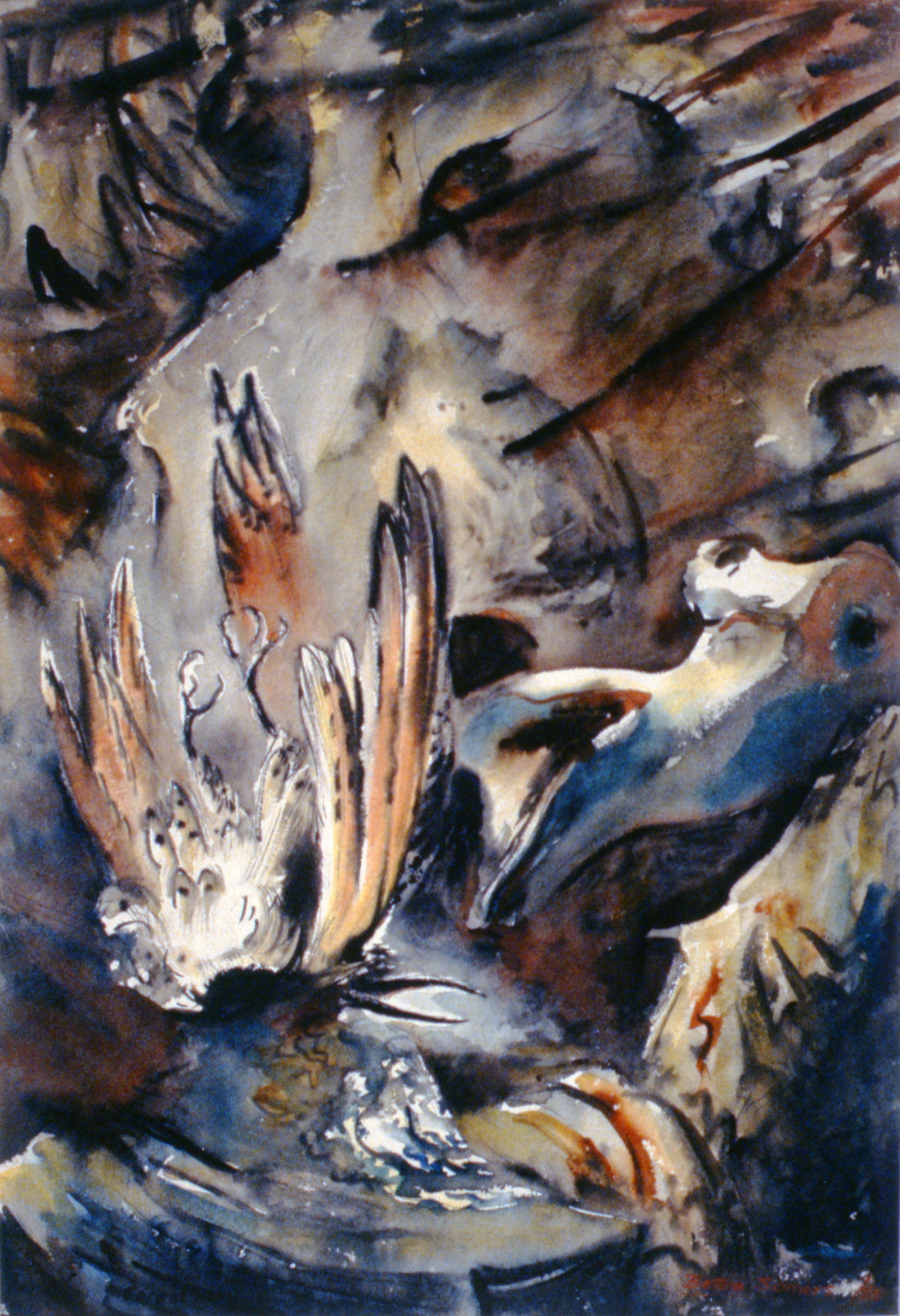 """Fallen Flicker  or  Forest Requiem, 1950, Bettina Somers, watercolour, pen and ink on paper, 28"""" x 22"""", 1990.01.01. Gift of the artist's estatec/o Mike & Gwen Calverley."""