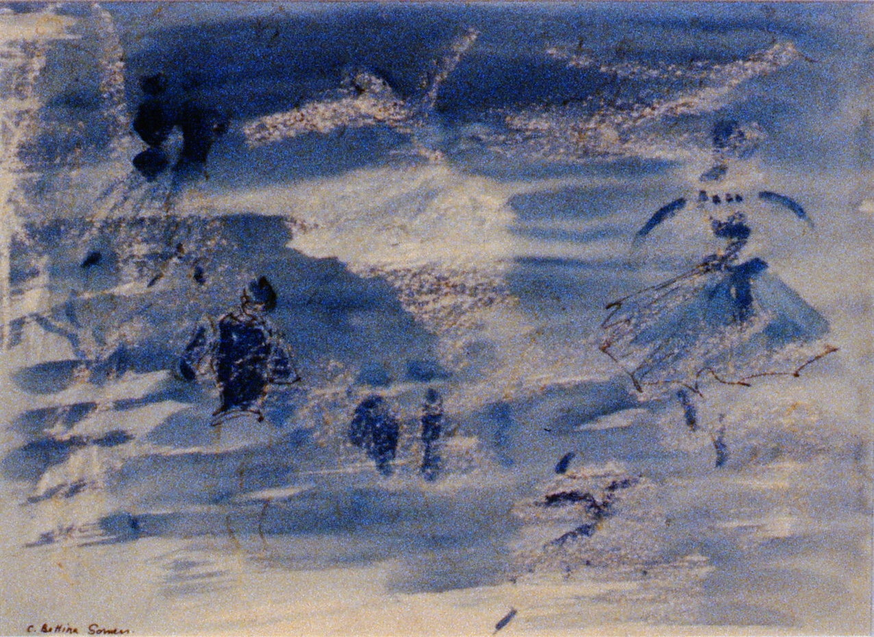 Les Patineurs , c. 1950s, Bettina Somers, watercolour, 1990.01.03. Gift of the artist's estate c/o Mike & Gwen Calverley.