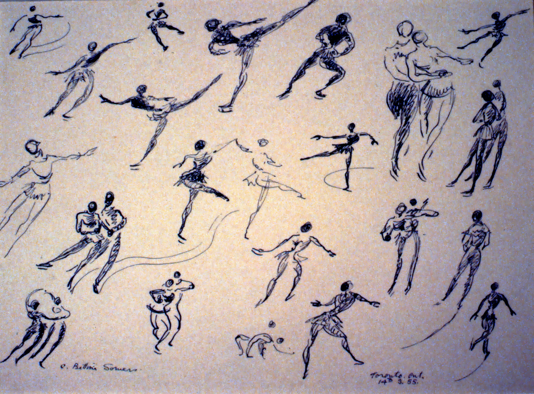 Skaters, 1955, Bettina Somers, watercolour & ink on paper, 28 x 38 cm, 1990.02.02. Gift of Rita Lamb.