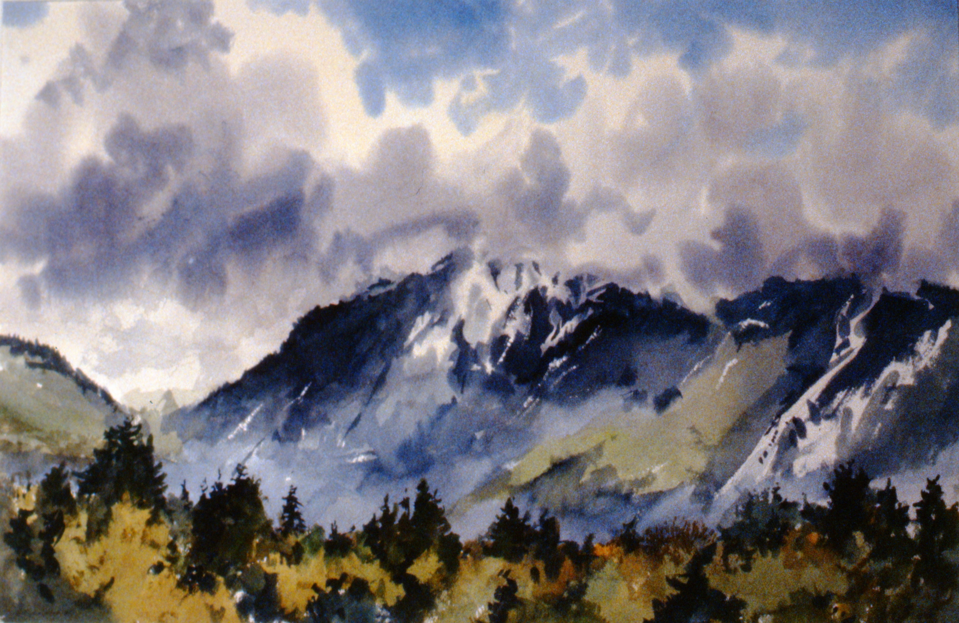 """North Shore Mountains , 1985, Edward Pulford, watercolour 13 1/2"""" x 20 1/2"""", 1991.01.01. Gift of the artist."""