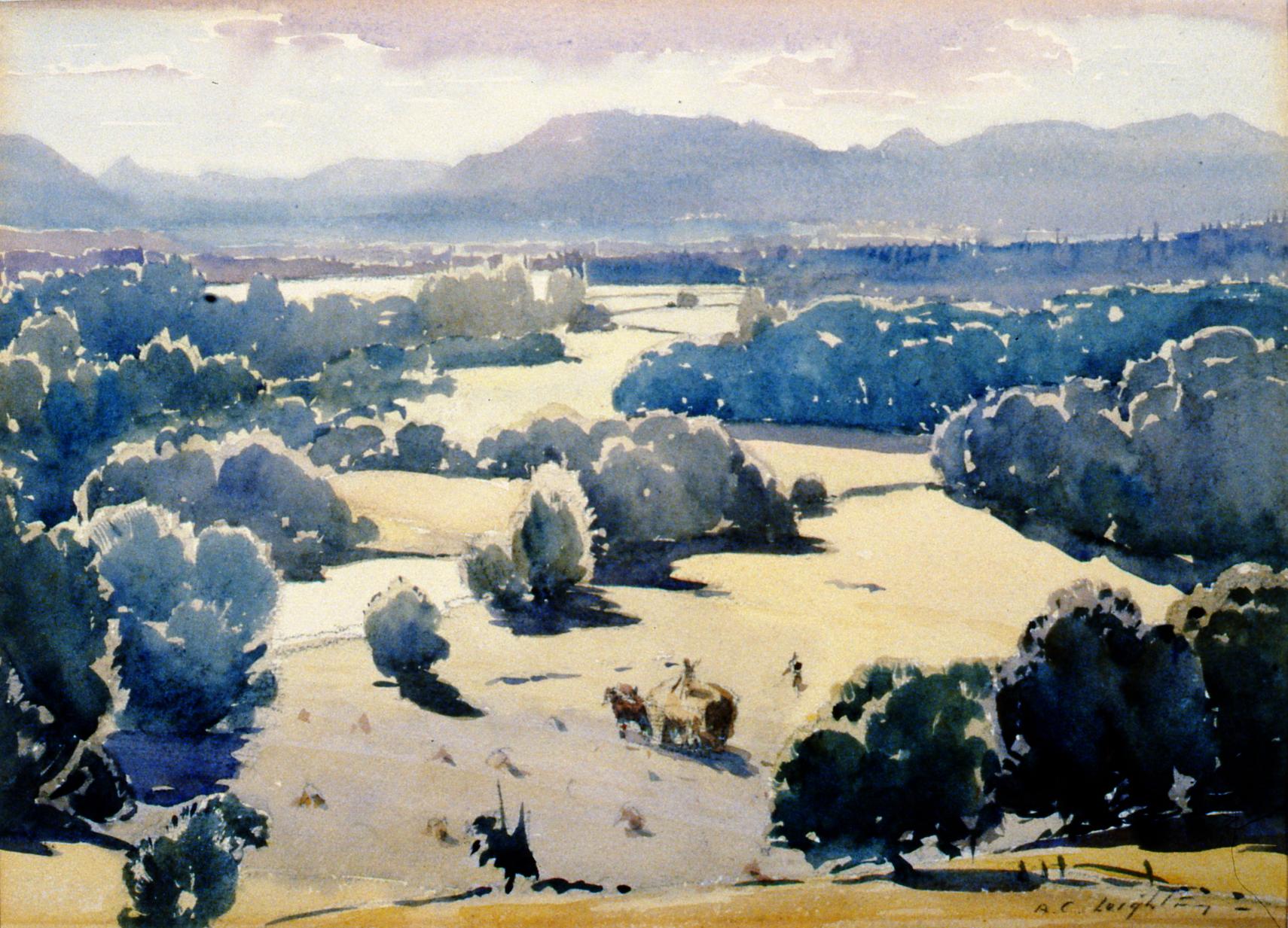 "Haying (Kohsilah - near Duncan) , c1931-32, A.C. Leighton, watercolour, 10 1/2""x14 1/4"", 1993.02.01"