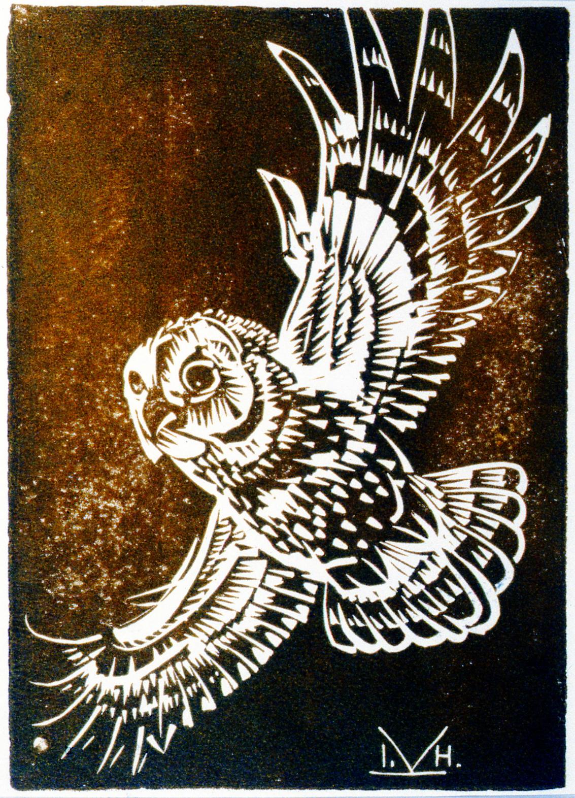 """Owl , Illingworth Kerr, lino on paper, 8 7/8"""" x 6 1/4"""", 1993.02.03"""