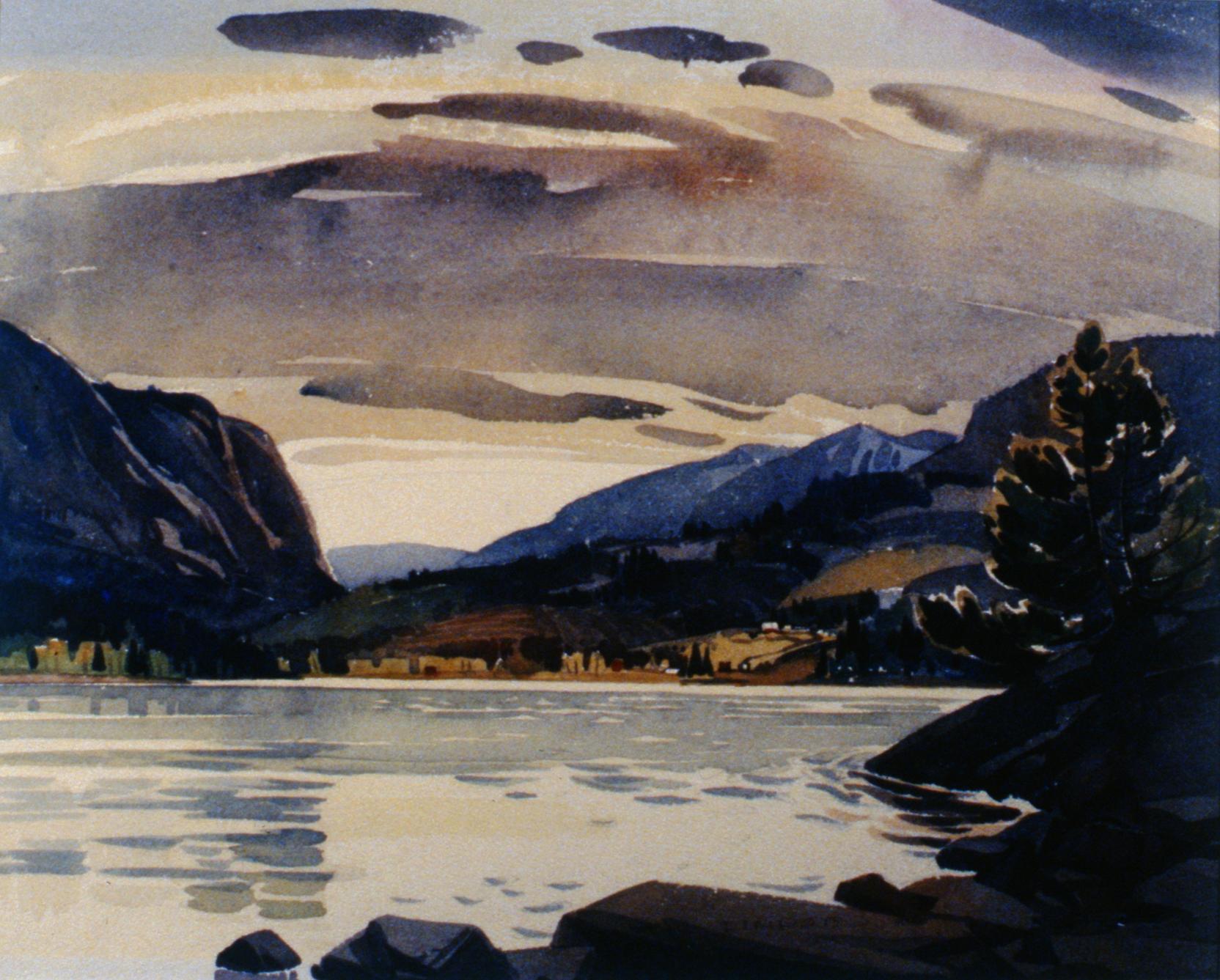 """From Copper Island looking towards Blind Bay , 1946, Luke Lindoe, watercolour, 16"""" x 21 1/2"""", 1994.14.01"""