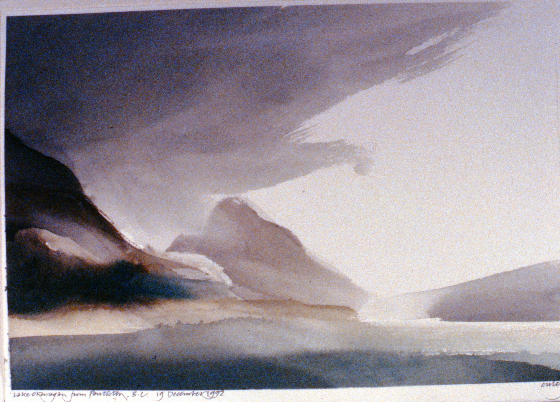 Lake Okanagan from Penticton , December 19th, 1992, Toni Onley, watercolour on paper, 1994.15.02. Gift of the artist.