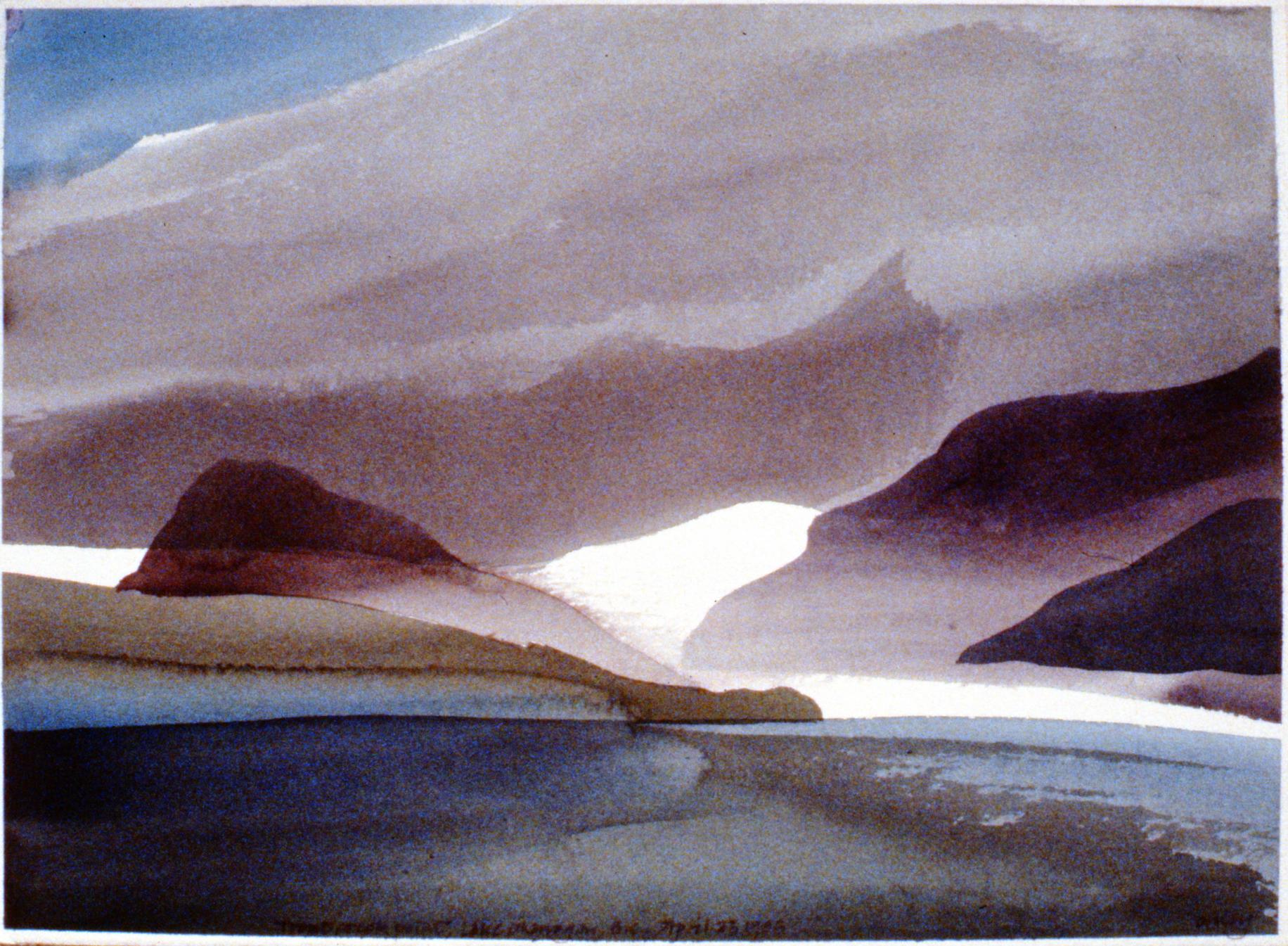 Trout Creek Point, Lake Okanagan , April 23, 1985, Toni Onley, watercolour on paper, 27.2 x 37.7 cm,1994.15.07. Gift of the artist.