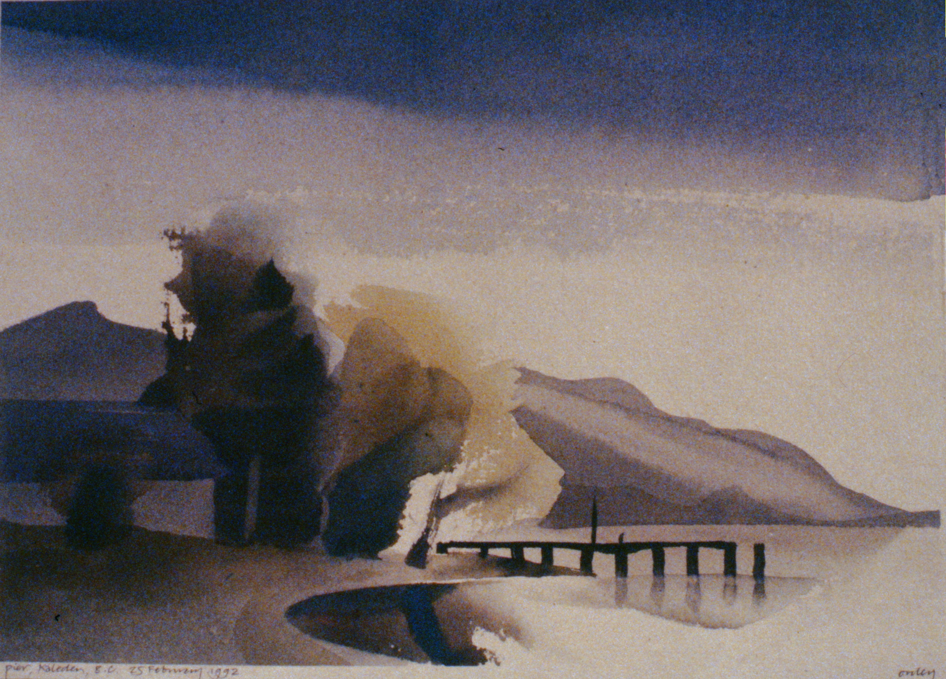 Pier, Kaleden, BC , February 25th, 1992, Toni Onley, watercolour on paper 27.2 x 37.7 cm, 1994.15.08. Gift of the artist.