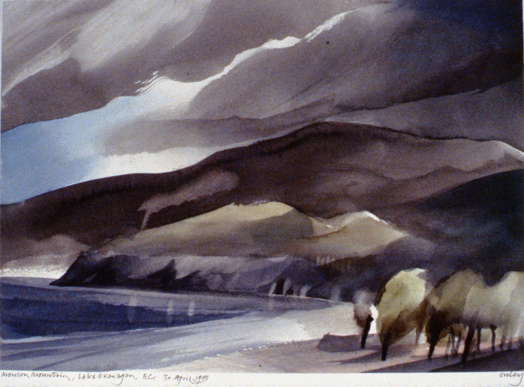 Munson Mountain, Lake Okanagan , April 30th, 1993, Toni Onley, watercolour on paper, 27.2 x 37.7 cm, 1994.15.11. Gift of the artist.