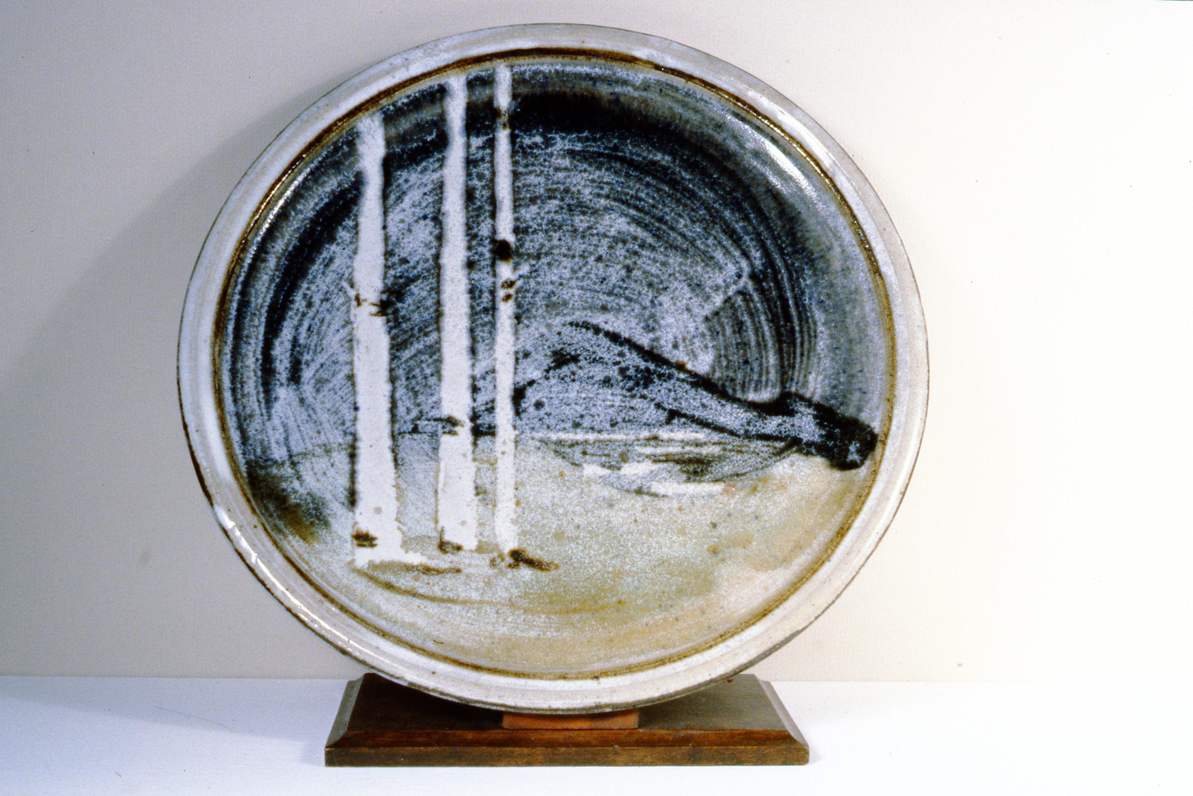 Landscape Plate , n.d., Frances Hatfield, ceramic, 33 1/2 cm diametre, 1995.01.06. Gift of the Okanagan Mainline Regional Arts Council.
