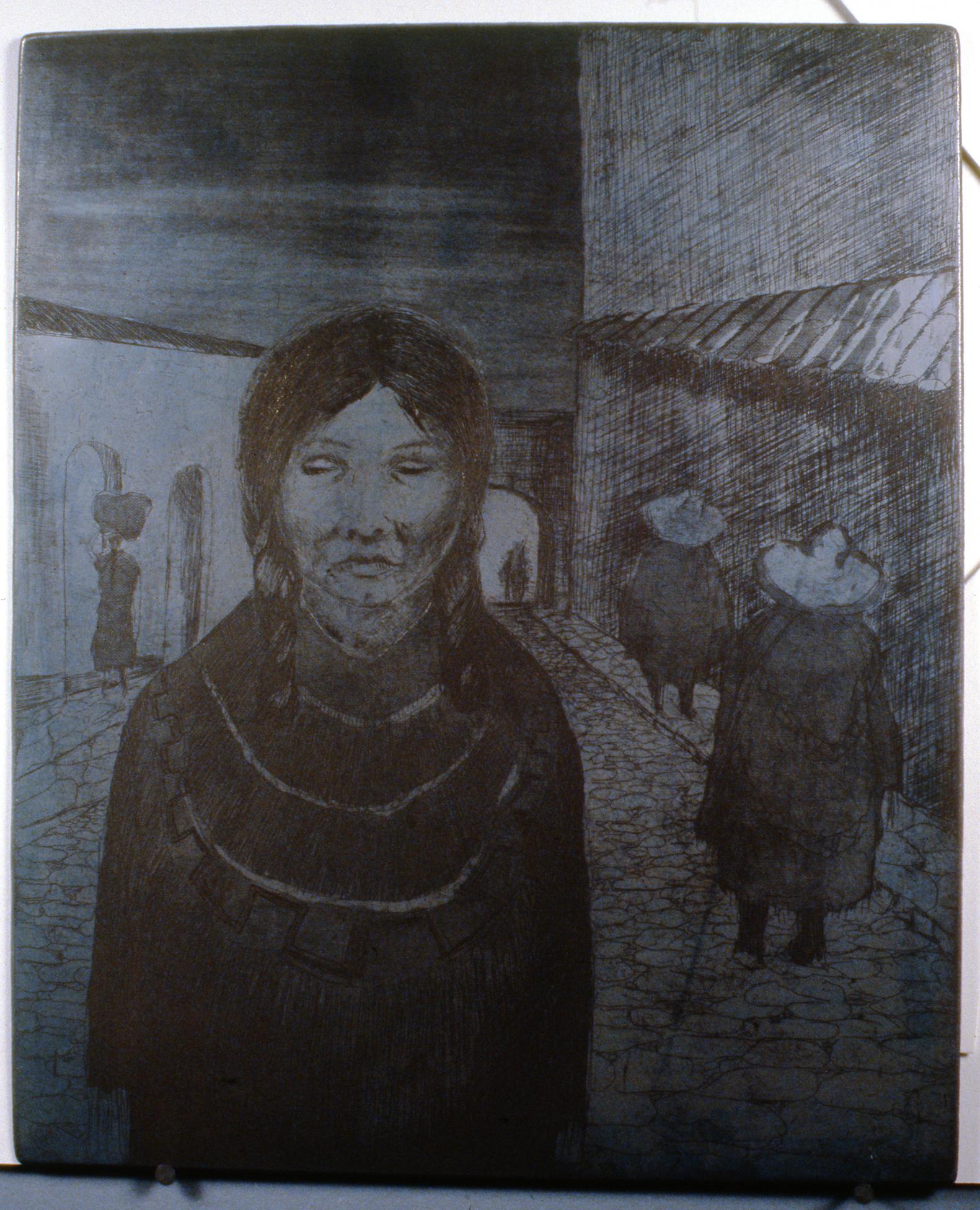Evening in Mexico , 1978, Minn Sjølseth, metal plate, 30.5 x 25cm, 1996.02.06