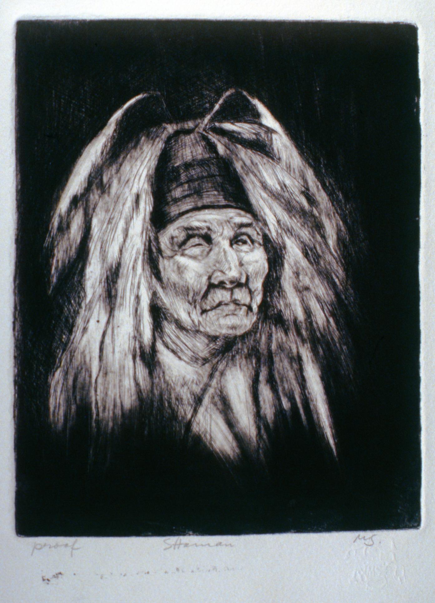 Shaman , 1980, Minn Sjølseth, artist proof, 25 x 20 cm, 1996.02.08