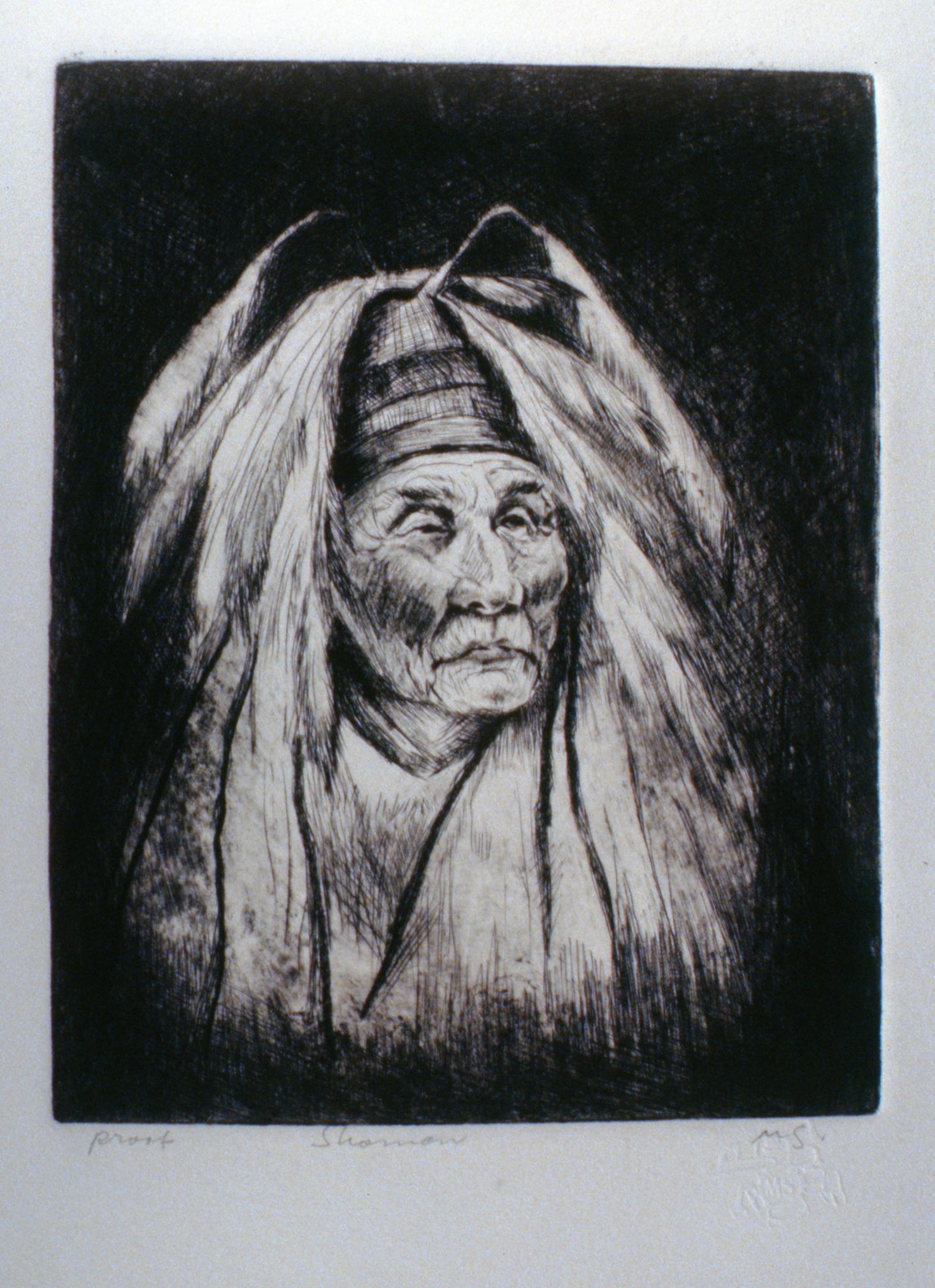 Shaman , 1980, Minn Sjølseth, artist proof, 25 x 20 cm, 1996.02.10