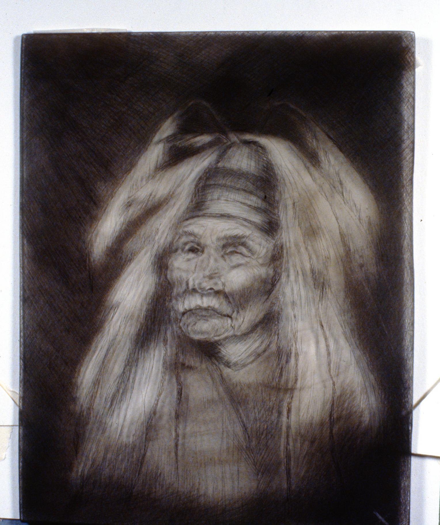 Shaman, 1980, Minn Sjølseth, retired plate (plastic), 25 x 20 cm, 1996.02.14