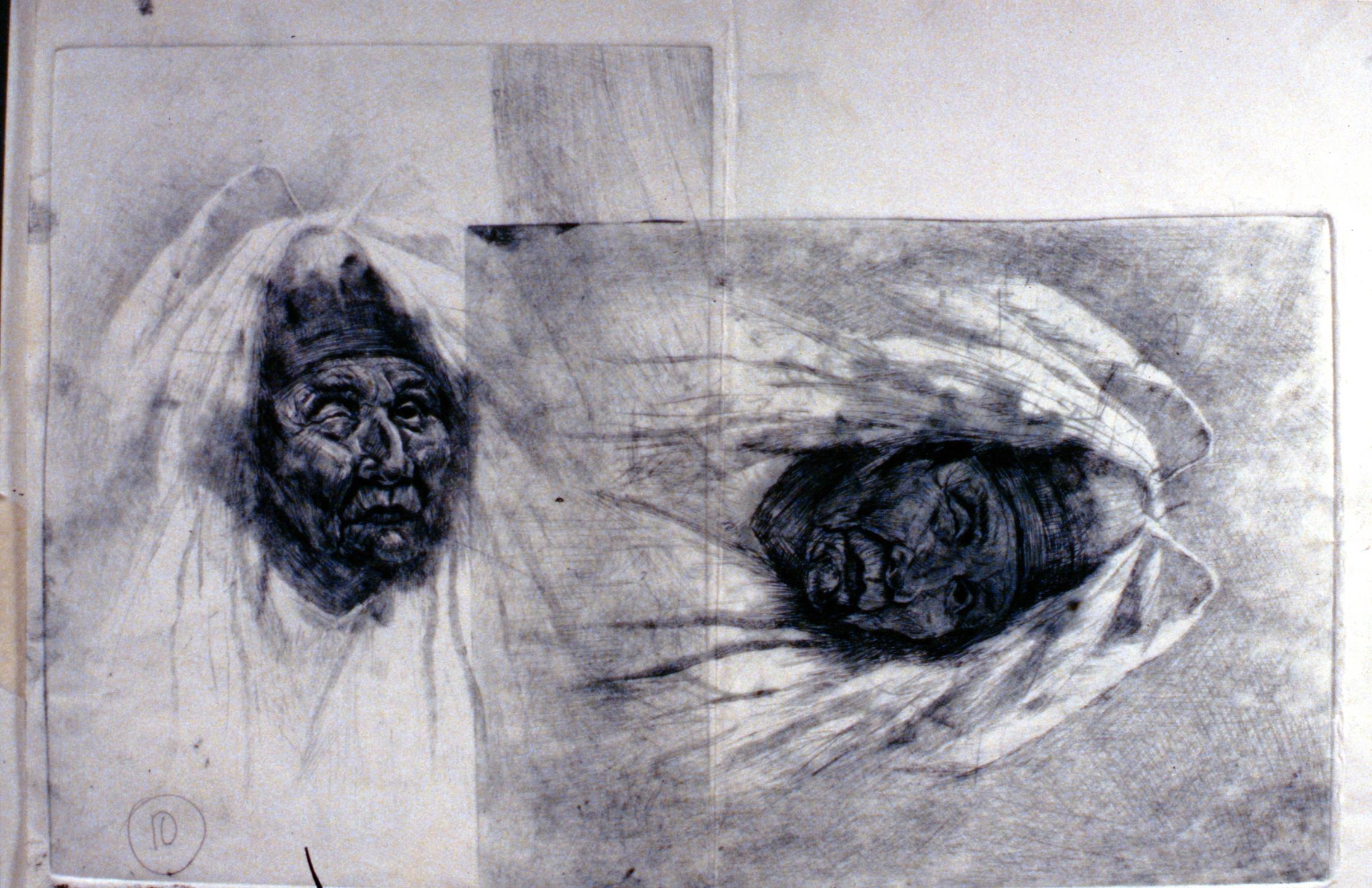 Shaman , 1980, Minn Sjølseth, artist proof with two images, 20 x 25cm, 1996.02.13