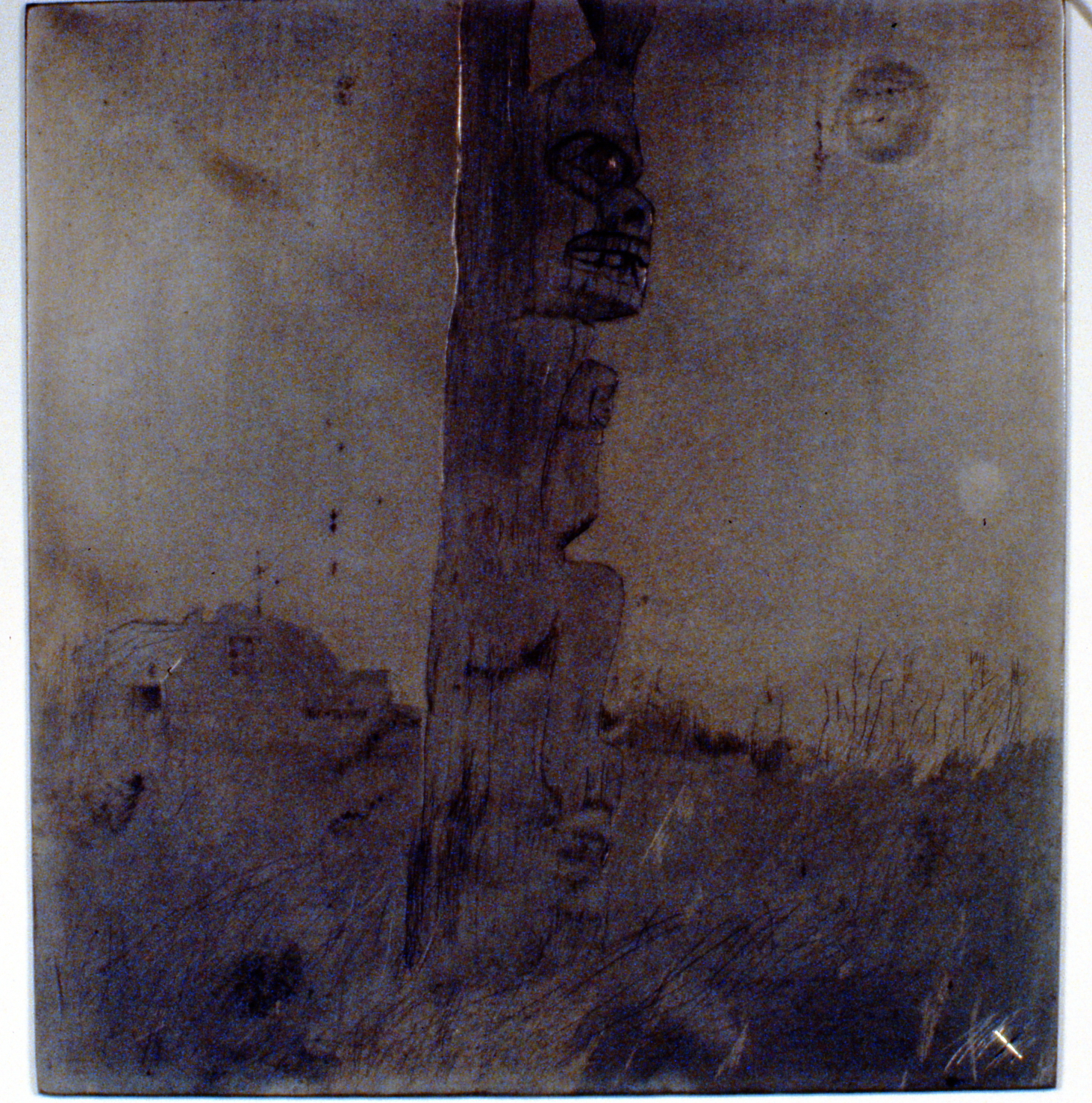 Village Watch , 1980, Minn Sjølseth, aluminum plate, 23 x 22 cm, 1996.02.21