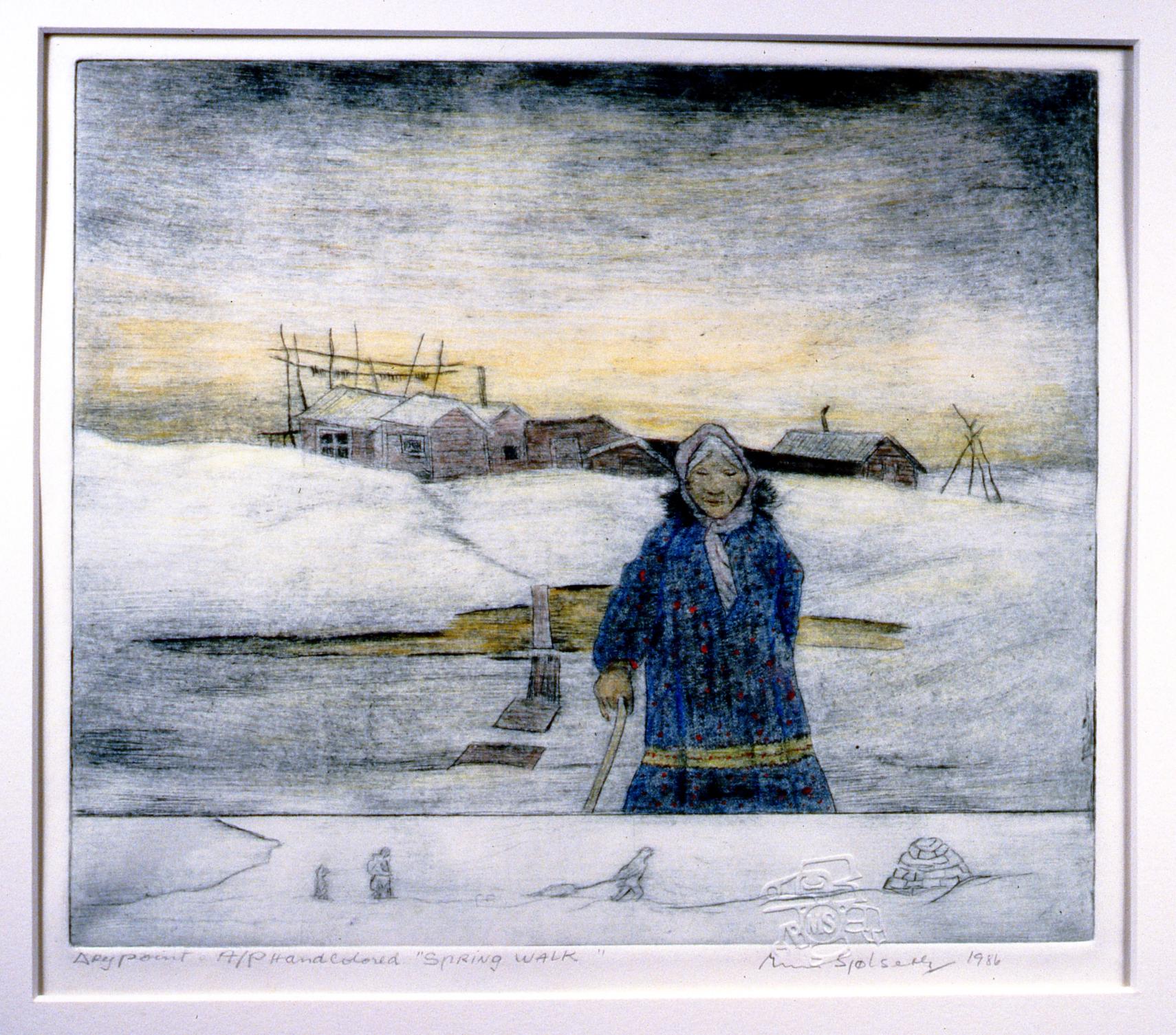 Spring Walk , 1986, Minn Sjølseth, hand-coloured dry point, 21.5 x 25.5 cm, 1996.02.25