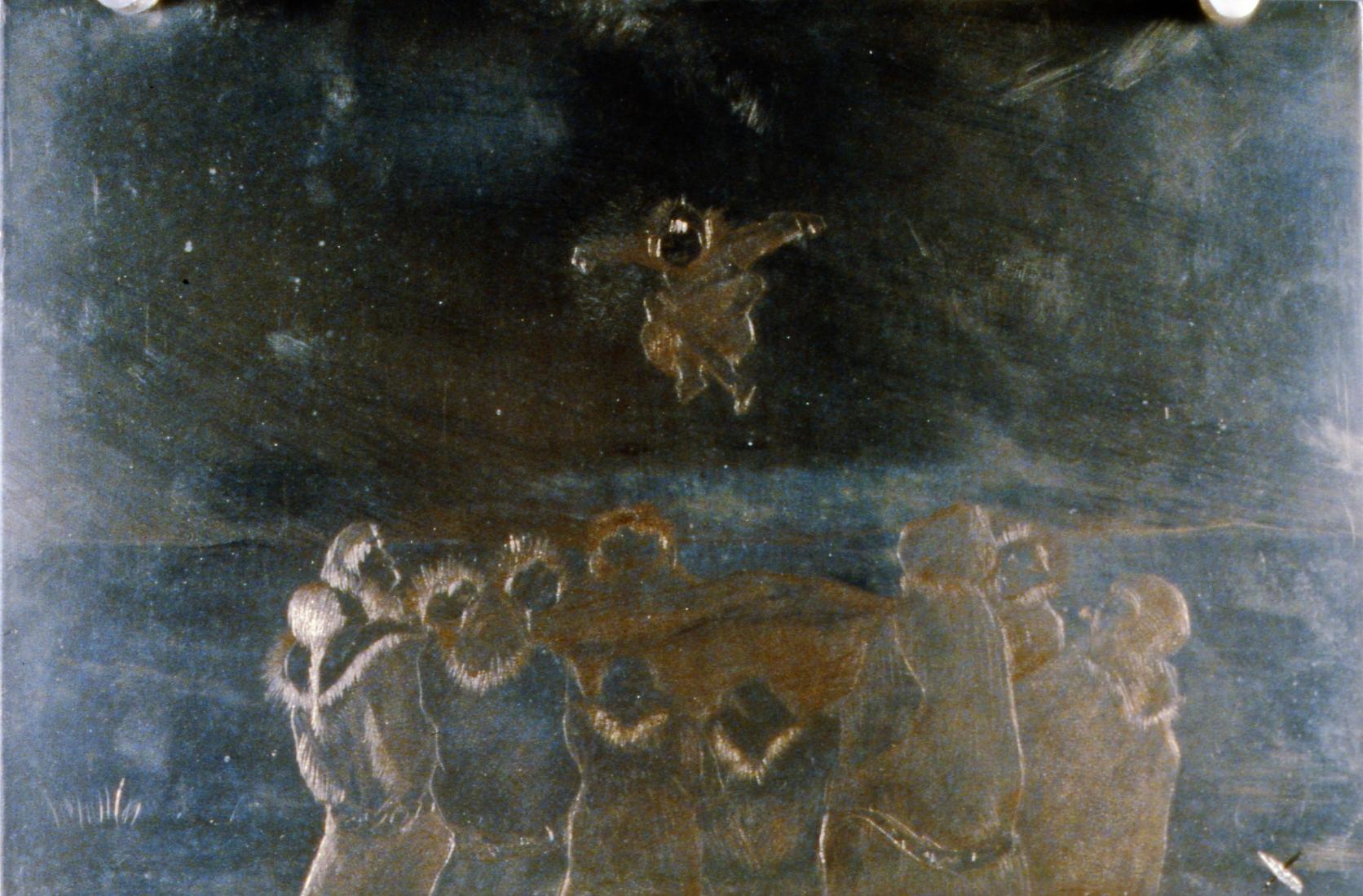 Blanket Toss , 1986, Minn Sjølseth, metal plate, 15 x 22.5 cm, 1996.02.20