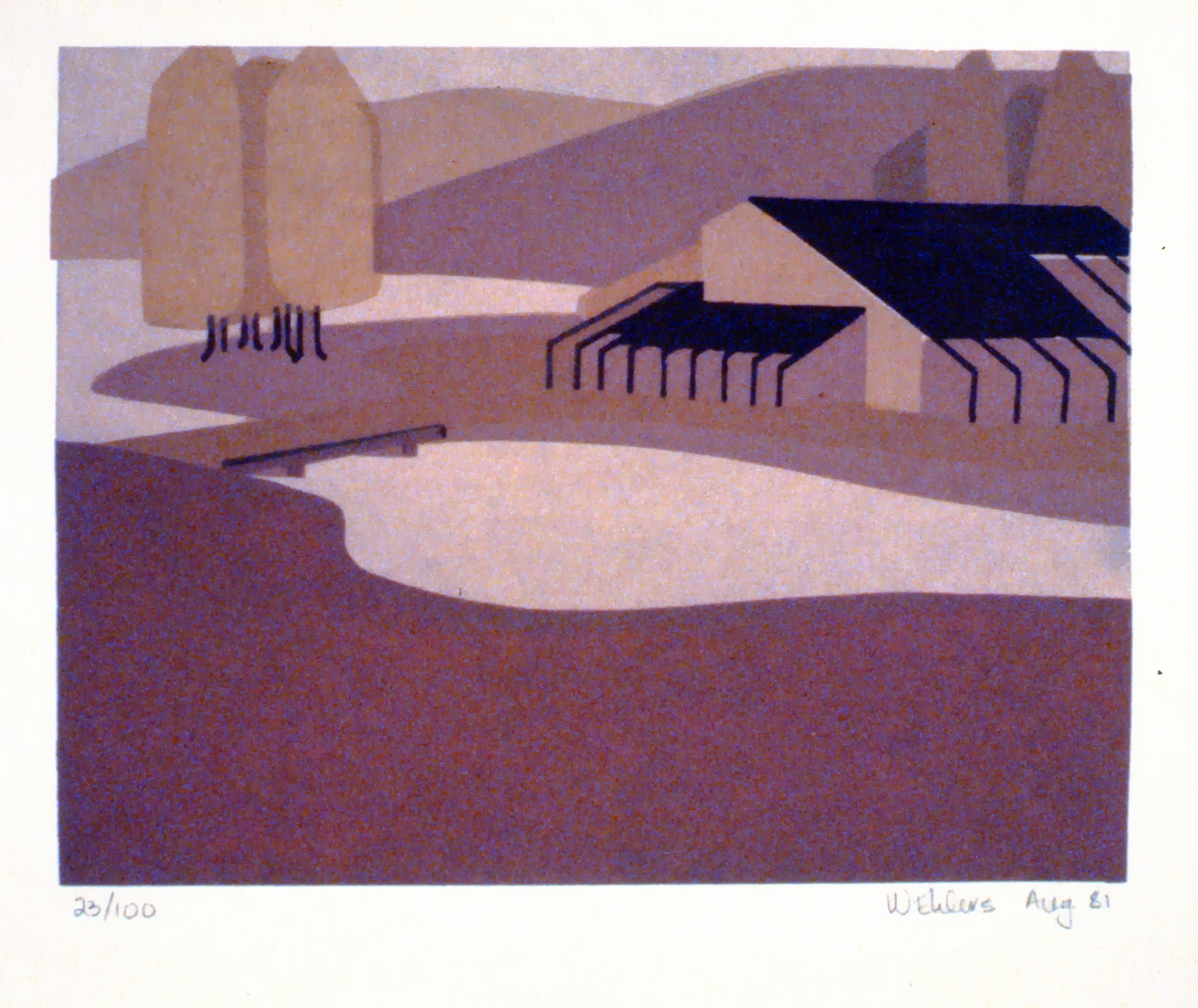 Untitled (Art Gallery of the South Okanagan), 1981, Wendy Ehlers, serigraph, edition 23/100, 14.2 x 18.2 cm,  1997.06.01. Gift of the artist