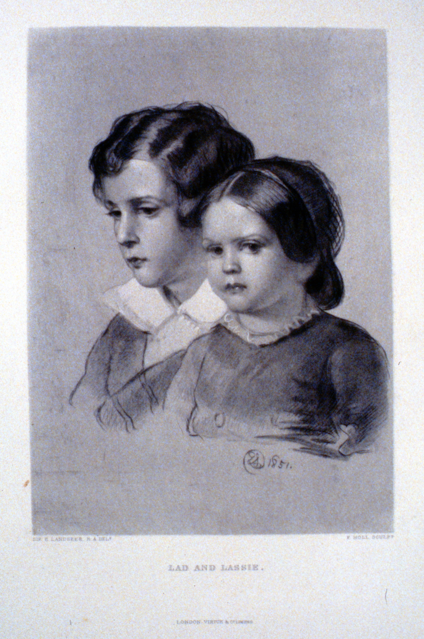 Lad and Lassie , c. late 19th Century, F. Holl, steel engraving, 24.7 cm x 17.6 cm, 1996.08.10, gift of Yvonne Adams