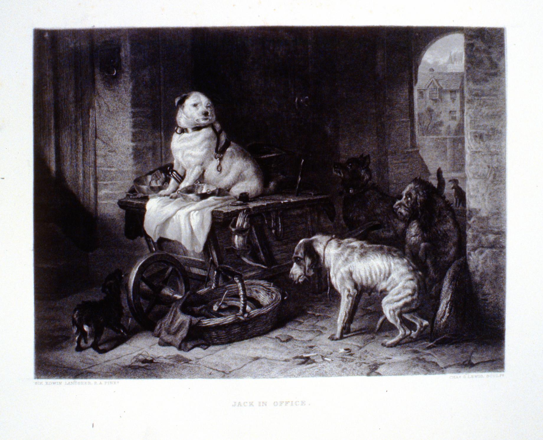 Jack in Office , c. late 19th Century, Charles G. Lewis, steel engraving, 19.3 cm x 26.4 cm, 1996.08.21, gift of Yvonne Adams