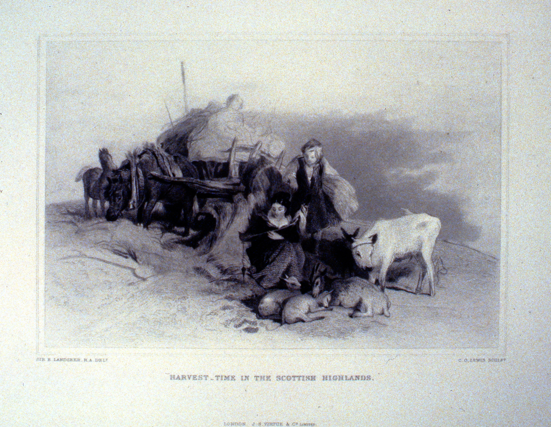 Harvest Time in the Scottish Highlands , c. late 19th Century, Charles G. Lewis, steel engraving, 17.2 cm x 25.2 cm, 1996.08.28, gift of Yvonne Adams