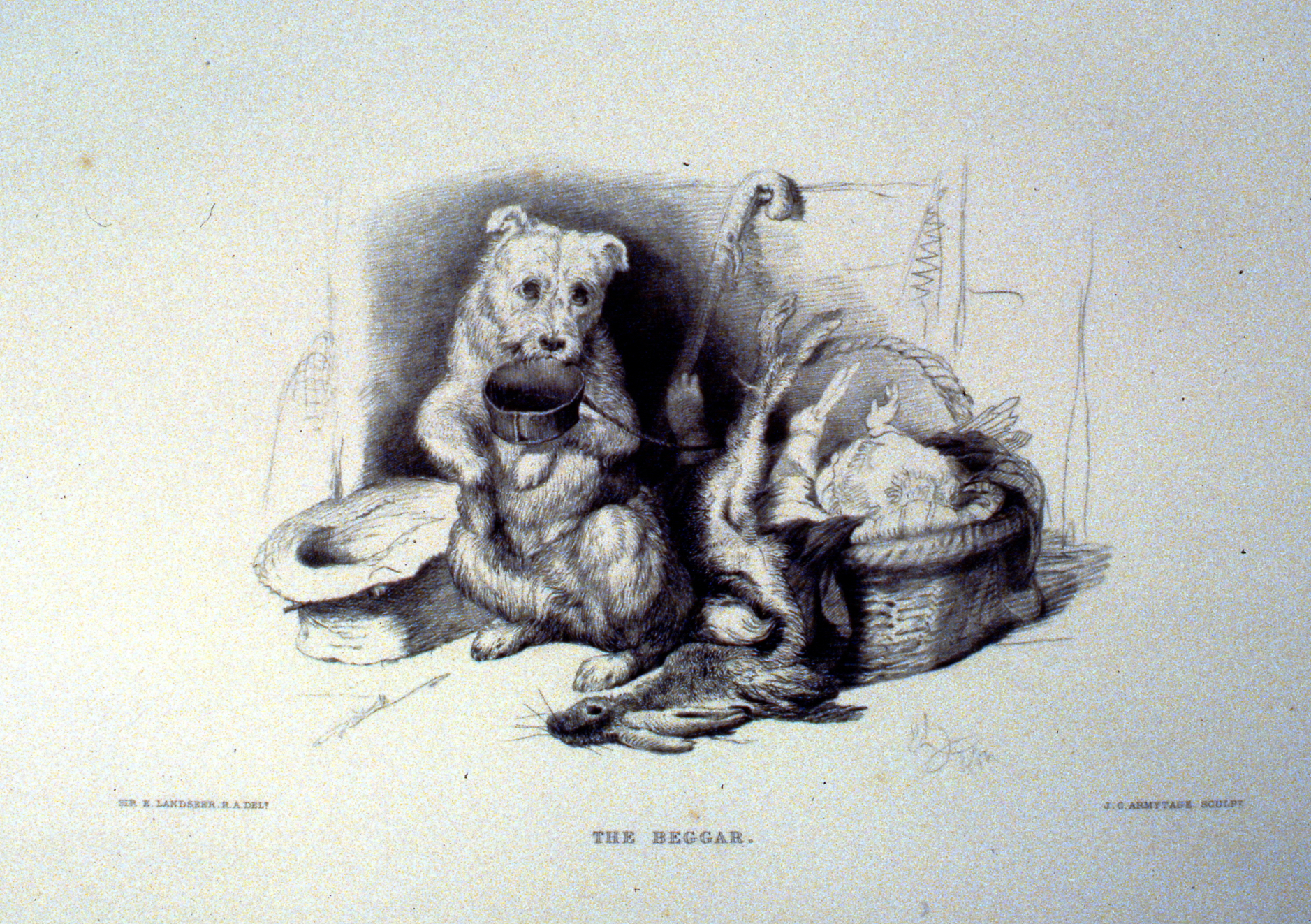 The Beggar , c. late 19th Century, J.C. Armytage, steel engraving, approx. 16 cm x 26 cm, 1996.08.29, gift of Yvonne Adams