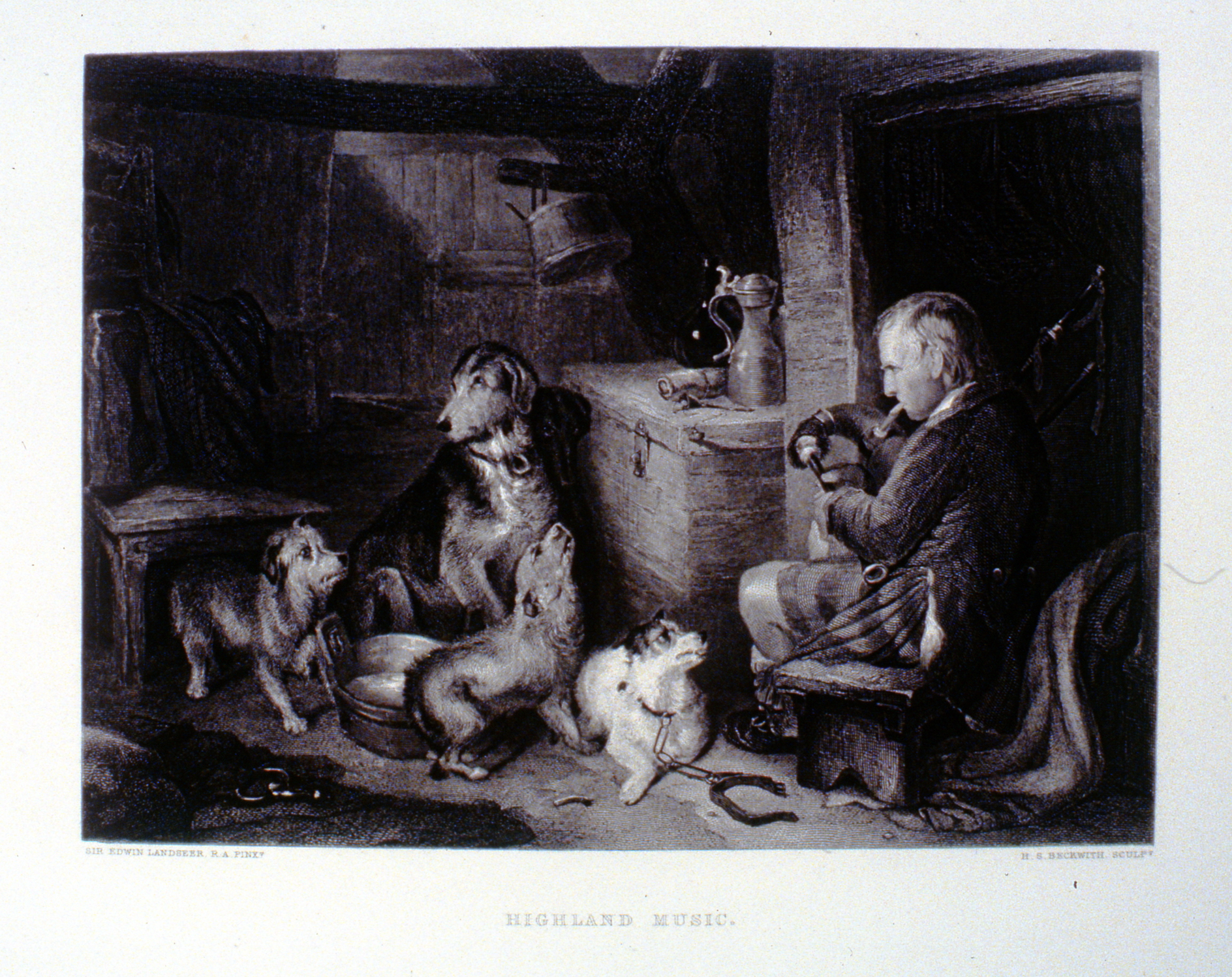Highland Music , c. late 19th Century, H.S. Beckwith, steel engraving, 18.5 cm x 25.1 cm, 1996.08.31, gift of Yvonne Adams