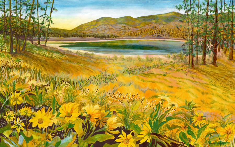 "Springtime, Mahoney Lake, Dorothy Tinning, acrylic on canvas, 30"" x 48"""