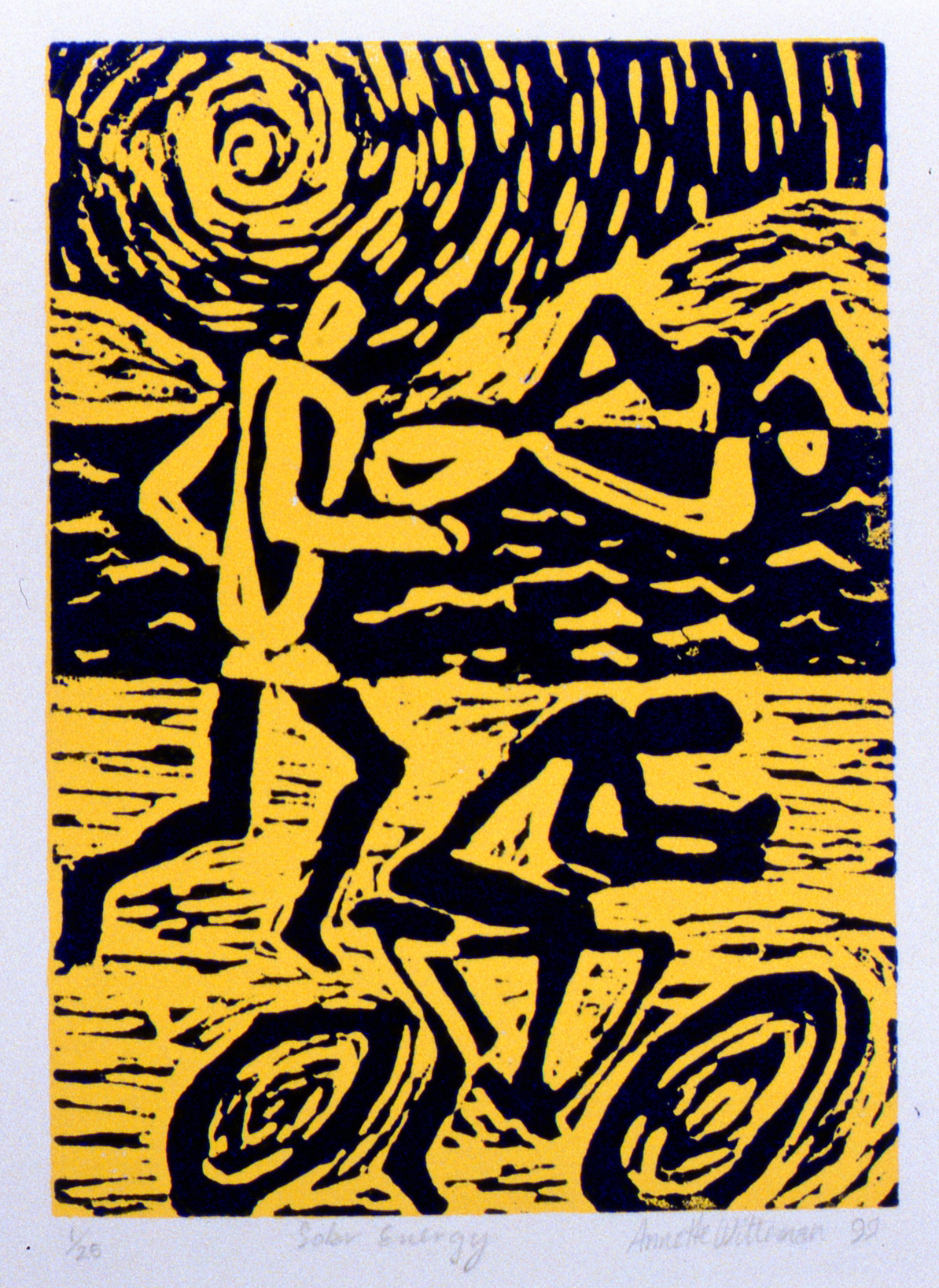 Solar Energy , The Spirit of Ironman Linocut Prints, edition 1/25, 1999, Annette Witteman, linocut print, 17.7 x 12.5 cm, 1999.02.08, gift of the artist