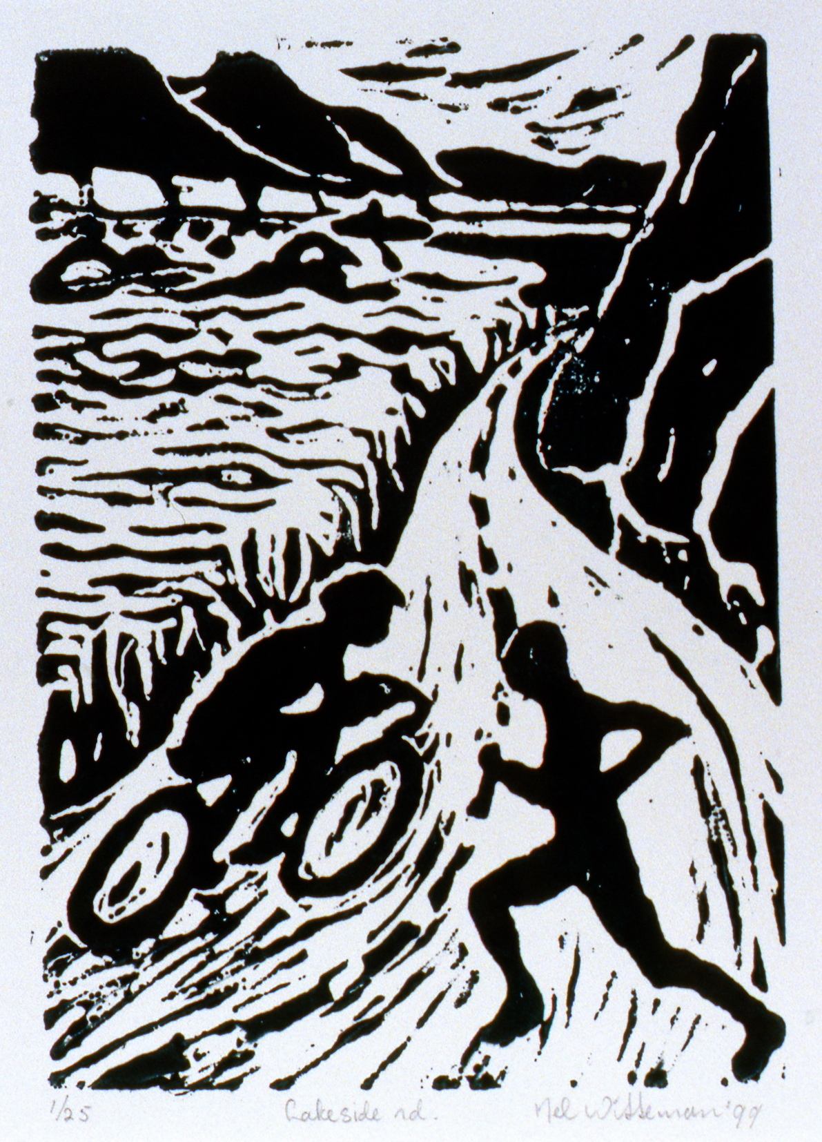 Lakeside Road , The Spirit of Ironman Linocut Prints, edition 1/25, 1999, Nel Witteman, linocut print, 17.7cm x 12.5 cm, 1999.02.09, gift of the artist