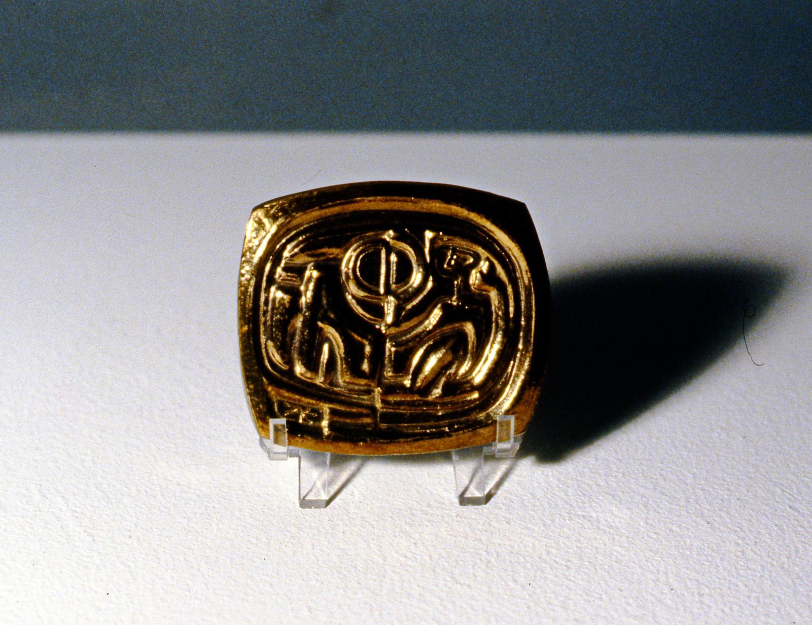 Moon Raker ,1993/4, Zeljko Kujundzic, relief stoneware medal, 7.5 x 10 cm, 1999.03.02, gift of the estate of June Brock