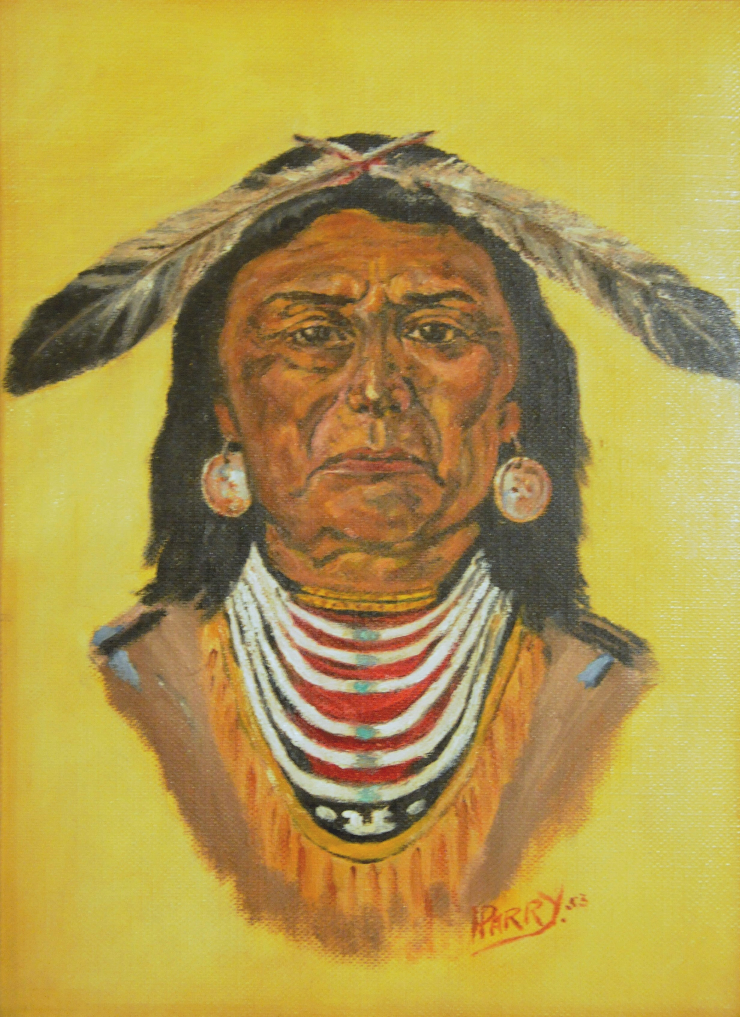 """Ojibwa"" Indian , 1953, H. Parry, oil on canvas board, 9"" x 12"" Note: written on back ""Controlled Shores Great Lakes"""