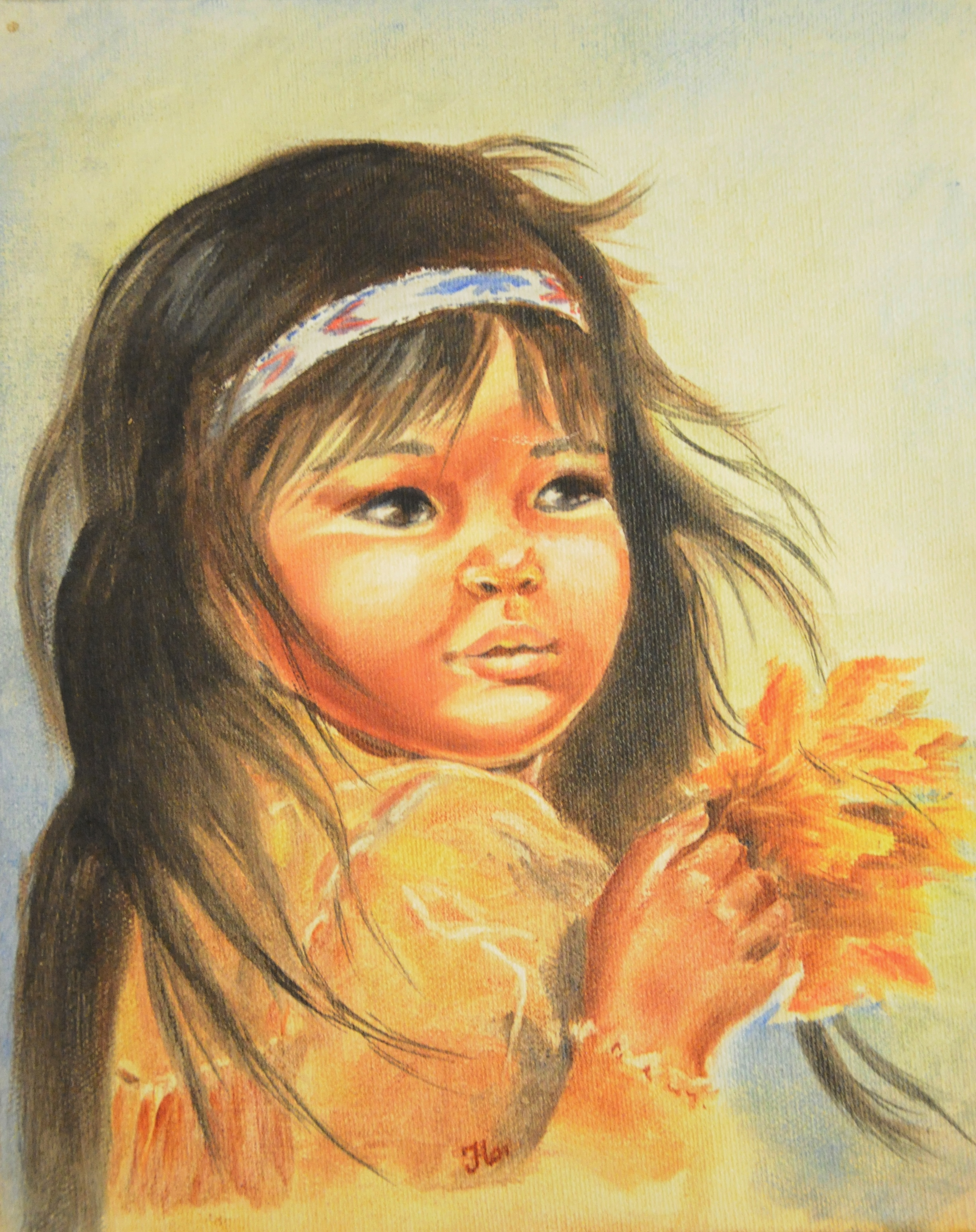 "Untitled (Girl with Flower), c. 1970s, signed Hoi, acrylic on canvas, 8"" x 10"""