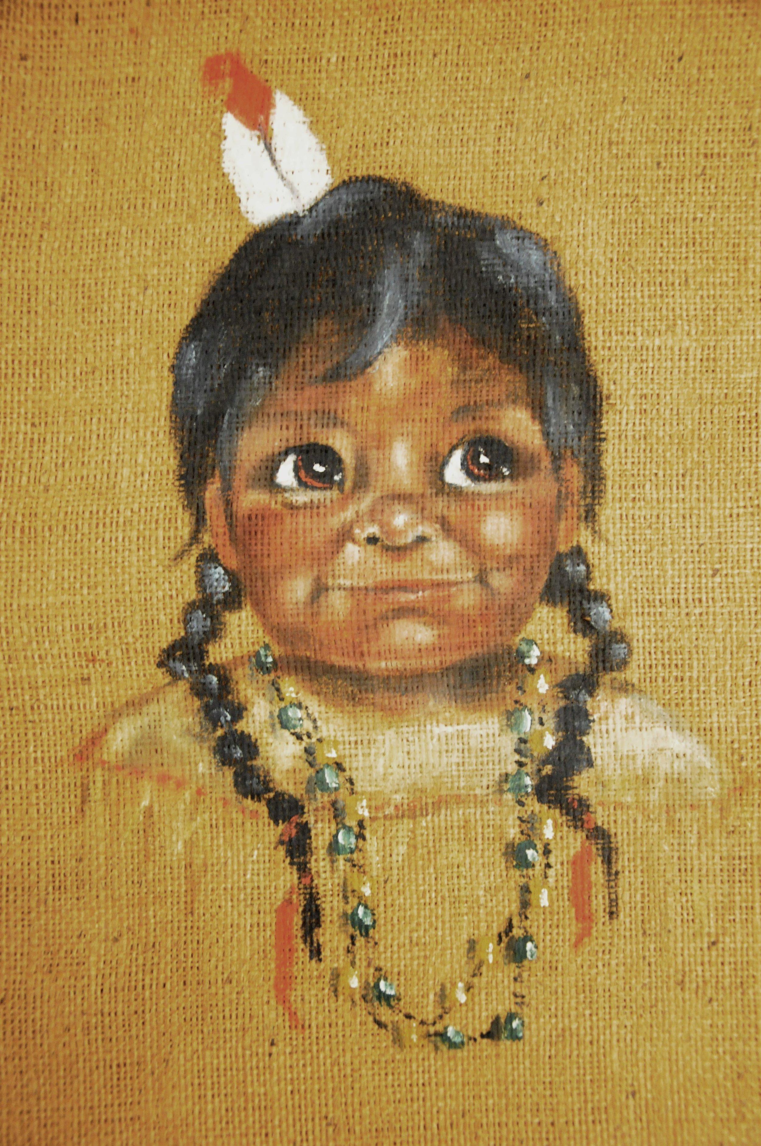 Untitled (Happy Child), c. 1960s, Fran Jenkins, acrylic on burlap