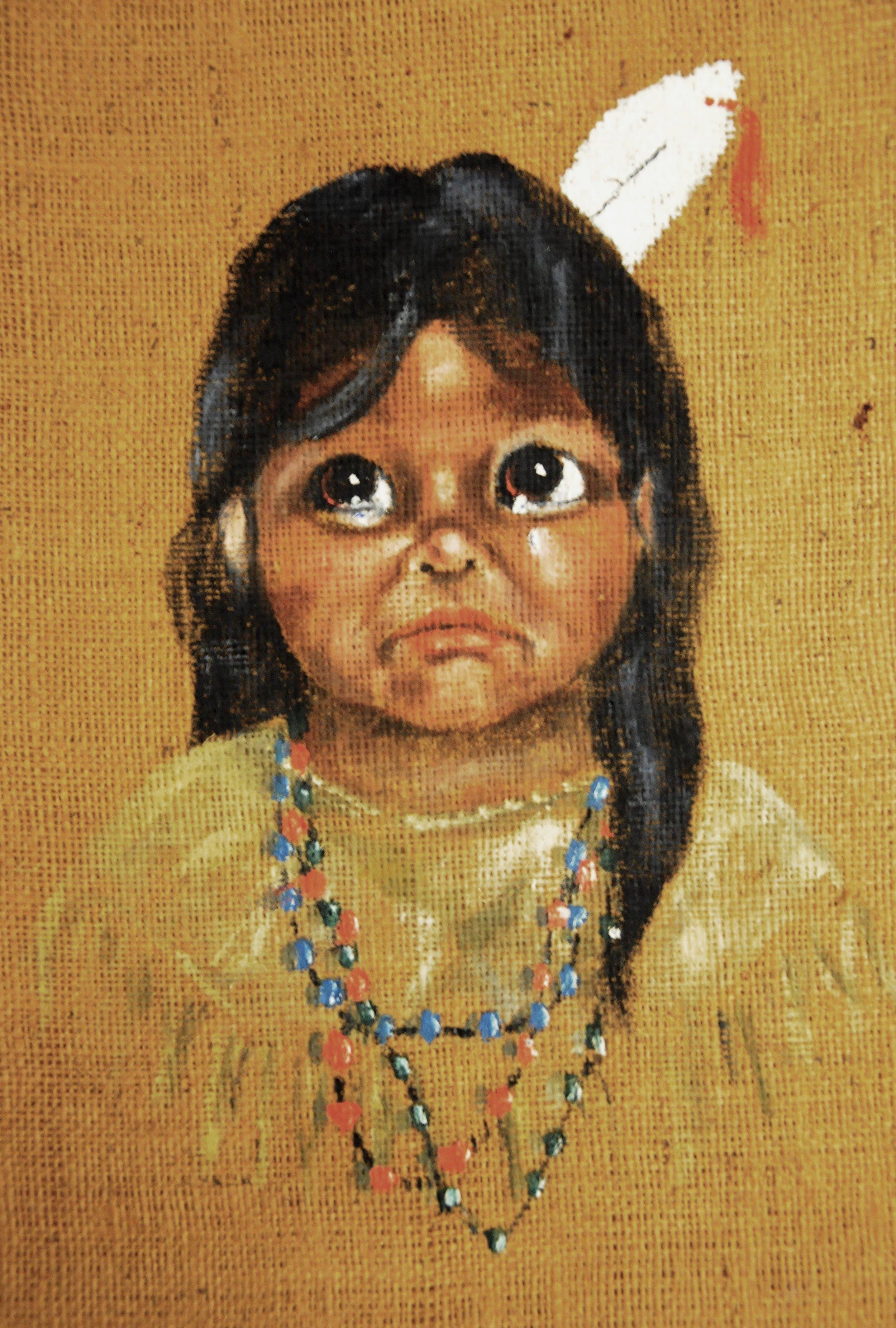 Untitled (Sad Child), c. 1960s, Fran Jenkins, acrylic on burlap