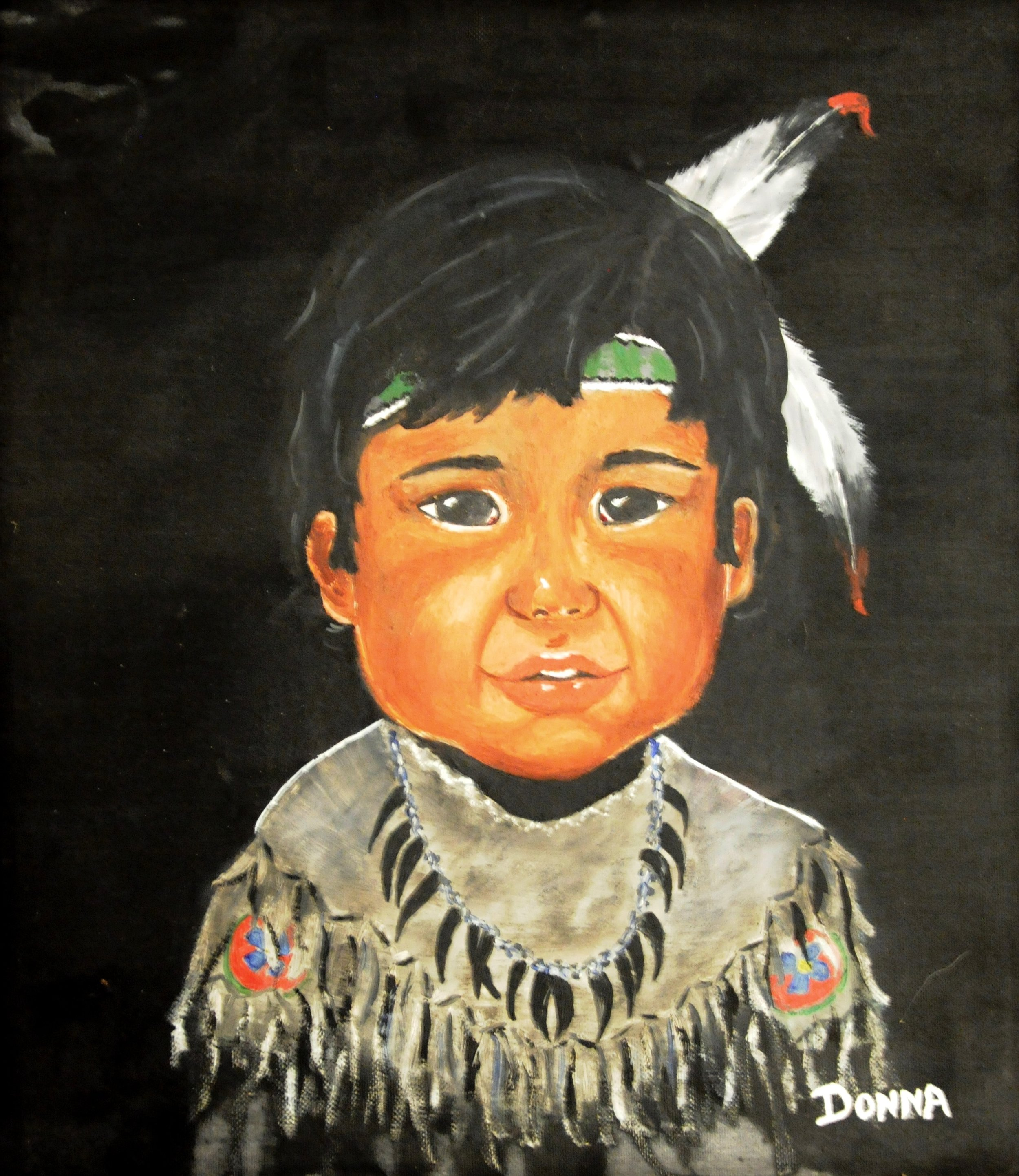 Untitled (Portrait of Boy), c. 1970s, signed Donna, acrylic on board