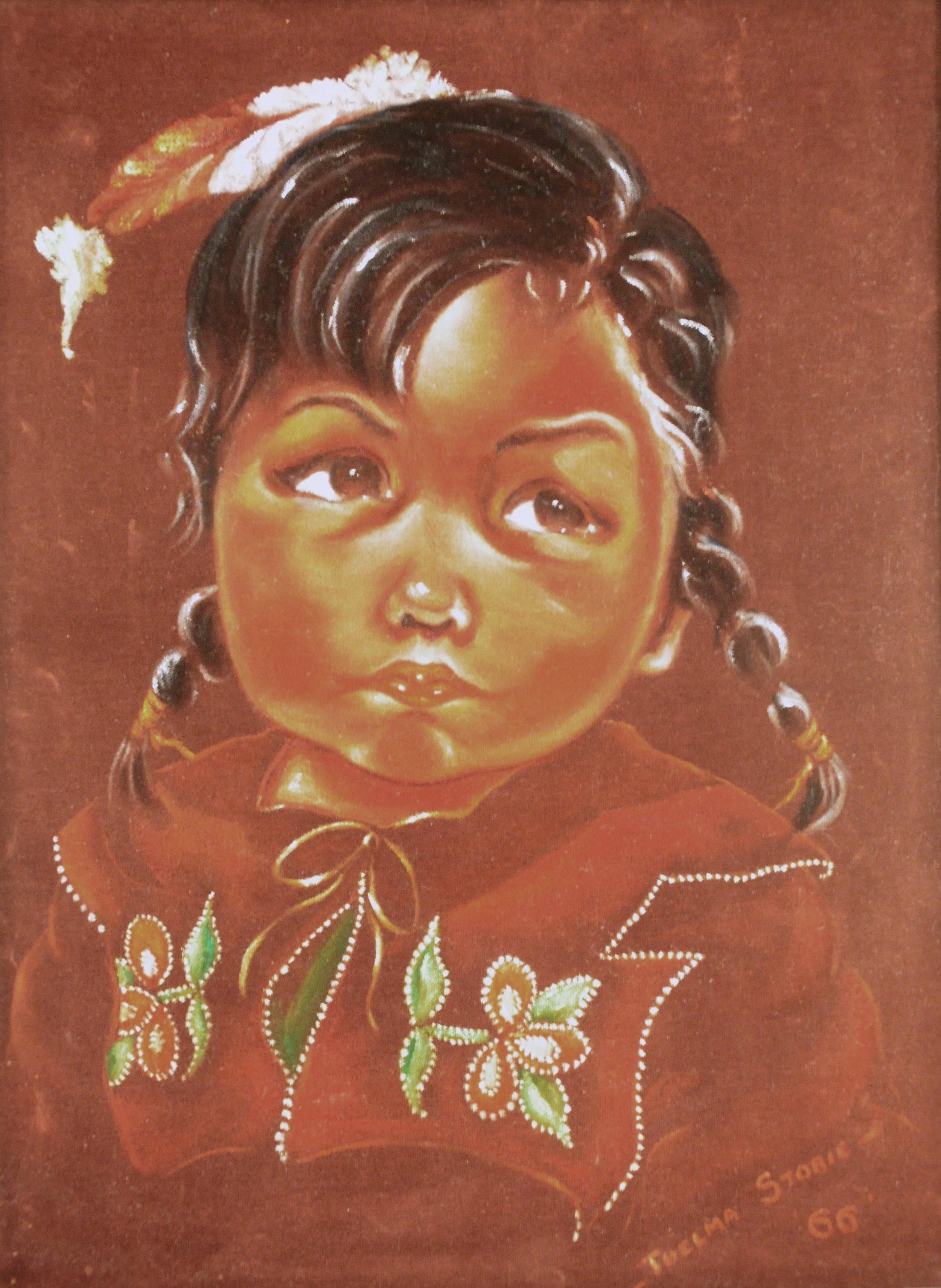 Untitled (Portrait of Child), 1966, Thelma Stobie, acrylic on velvet
