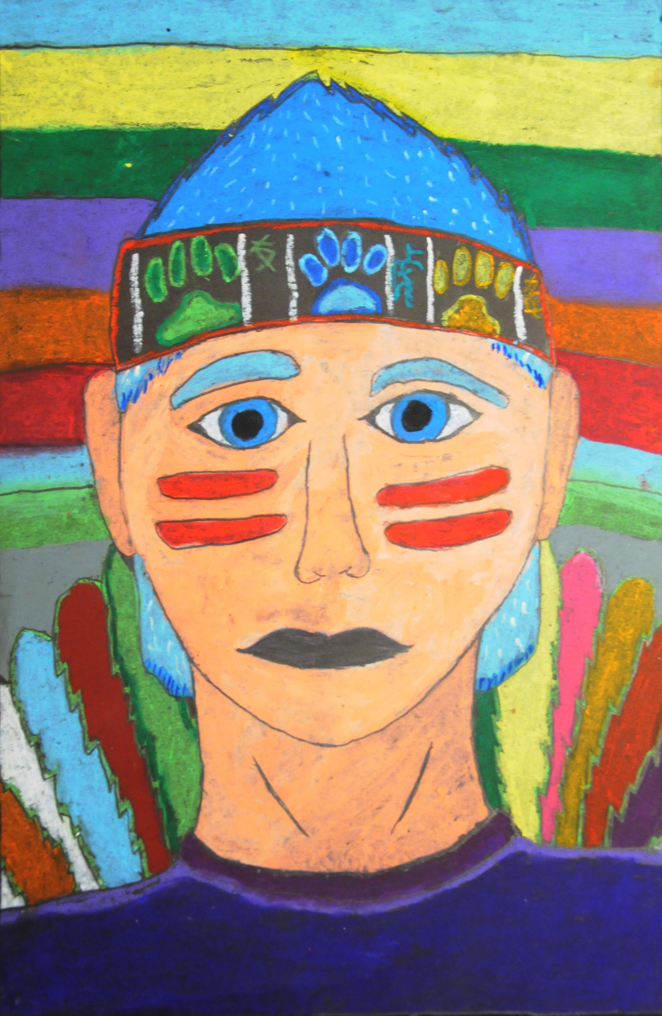 The Spirit Within , 2017, Brayden Baptiste, oil pastel