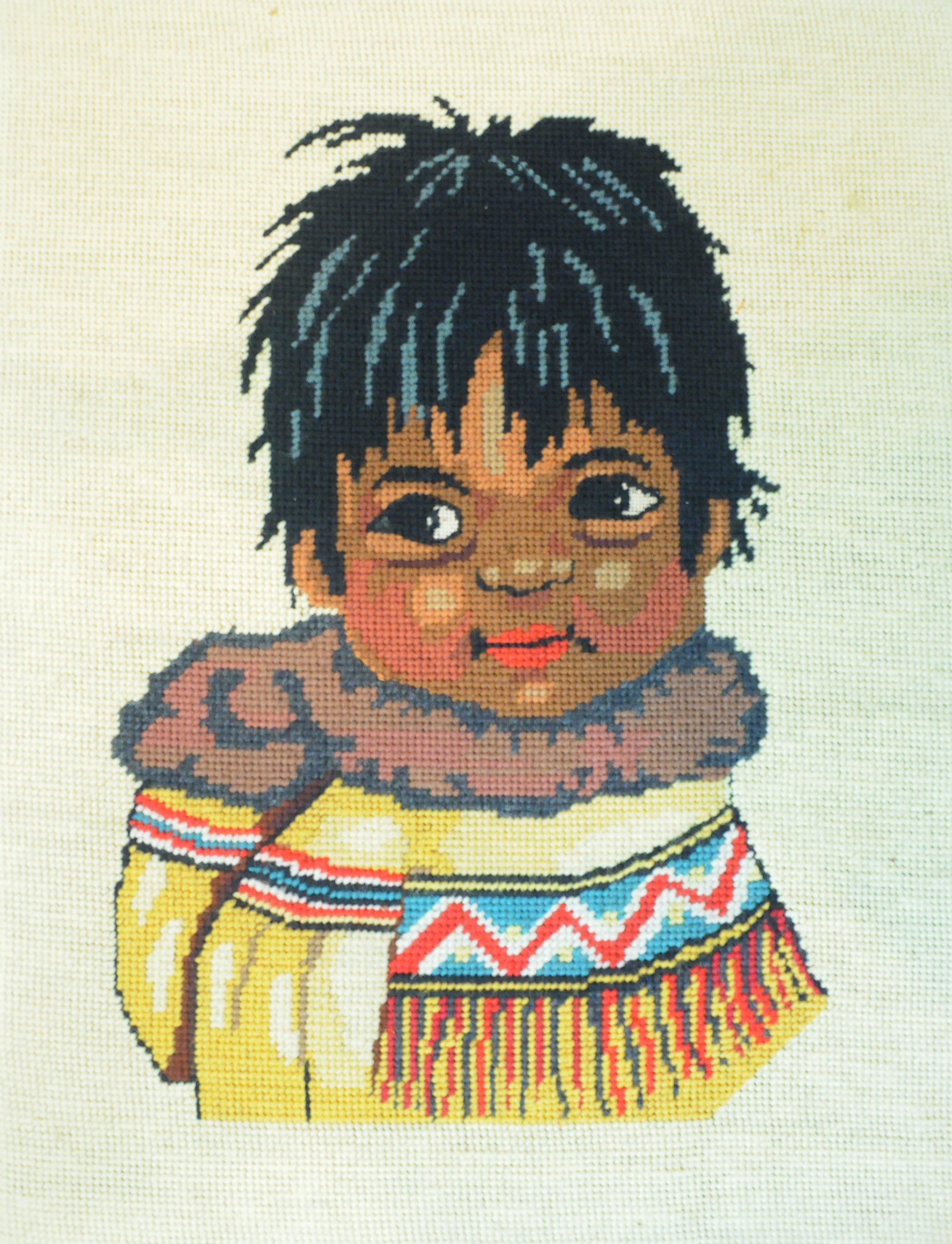Untitled (Portrait of Child), c. 1970s, artist unknown, needlepoint