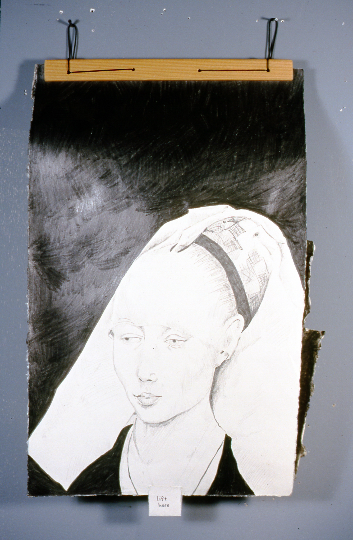 """Woman with Headdress 2 , 2000, Richard Motchman, mixed media/ drawing, 17"""" x 8"""", 2000.02.01, gift of the artist"""