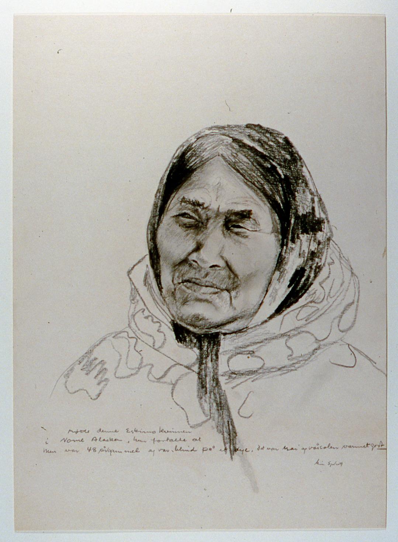 "Blind Eskimo Woman , 1982, Minn Sjølseth, graphite on paper, 16 1/2"" x 12 1/2"", 2000.04.02, gift of Al and Laila Campbell"