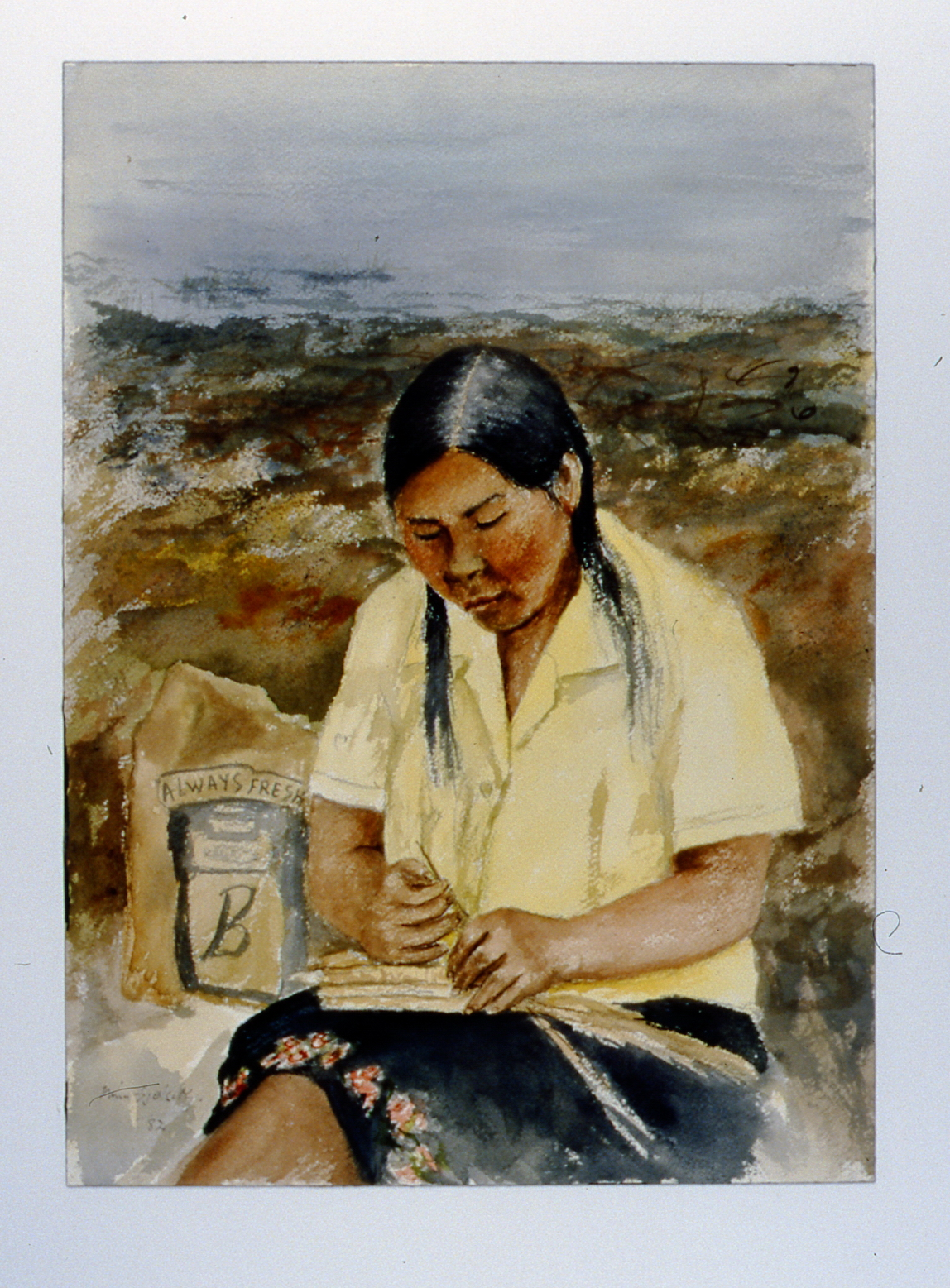 "Coppermine Basket Weaver , 1982, Minn Sjølseth, watercolour, 13 1/2"" x 9 1/2"", 2000.04.05, gift of Al and Laila Campbell"